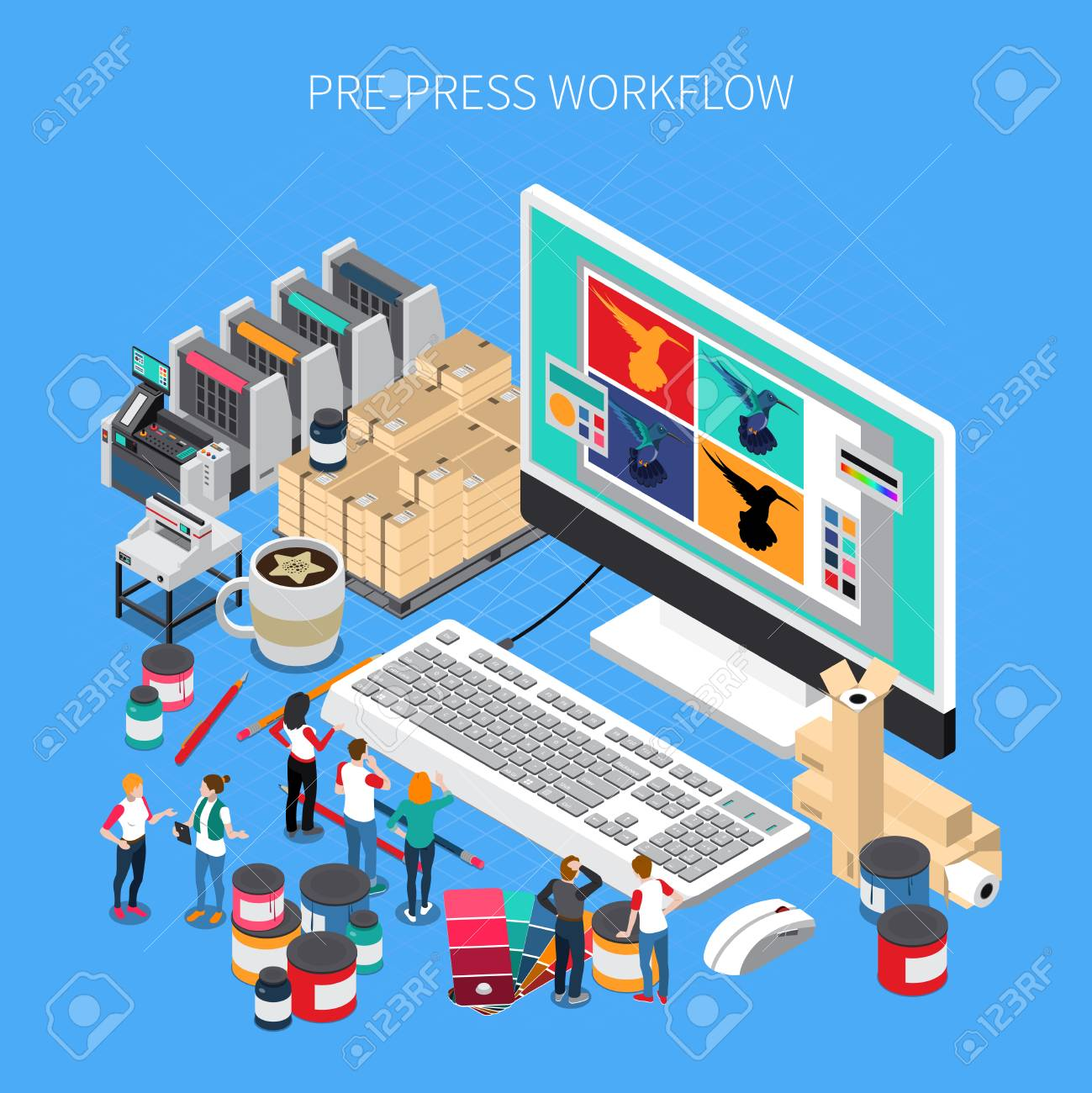 Printing house isometric composition with digital prepress workflow technology software design on desktop computer monitor vector illustration - 106993601