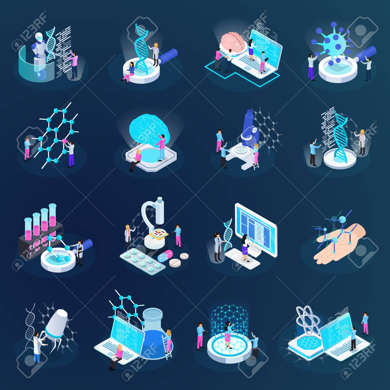 Scientists during nano technology development set of isometric icons isolated on dark gradient background vector illustration - 110199722