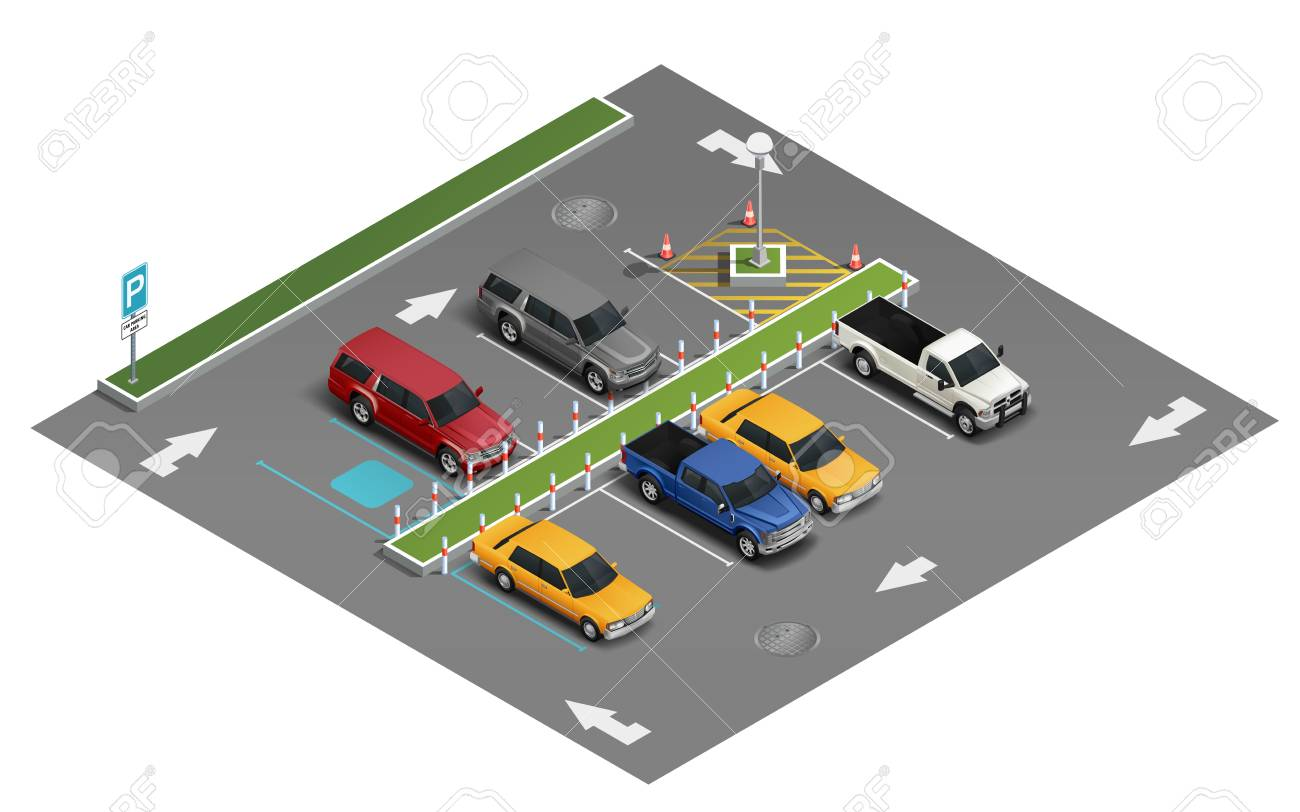 Transportation realistic isometric composition with van automobile saloon vehicle sedan car in outdoor parking lot vector illustration - 108100885