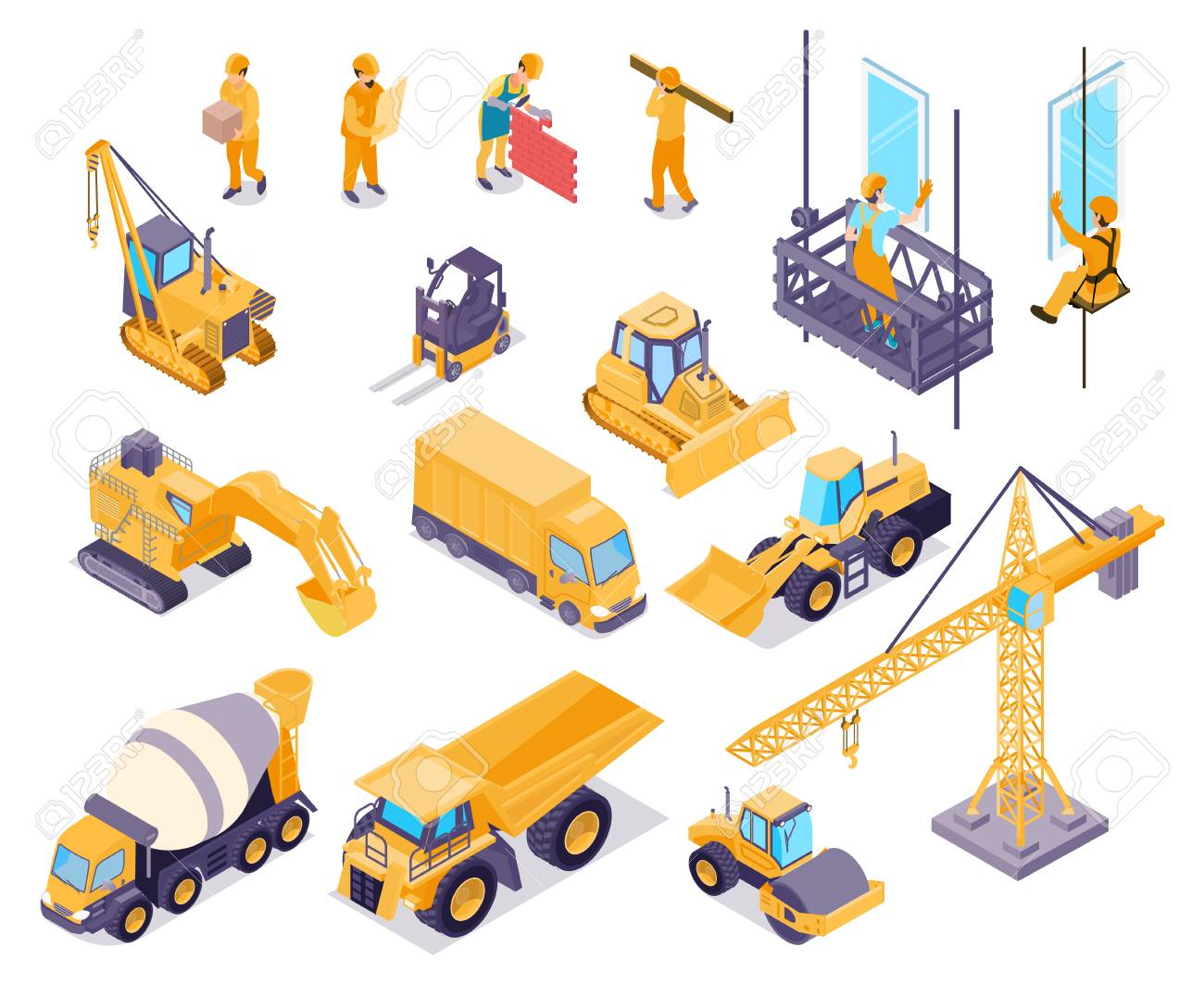 Construction isometric icons set with workers and various equipment for house building isolated on white background 3d vector illustration - 110151389