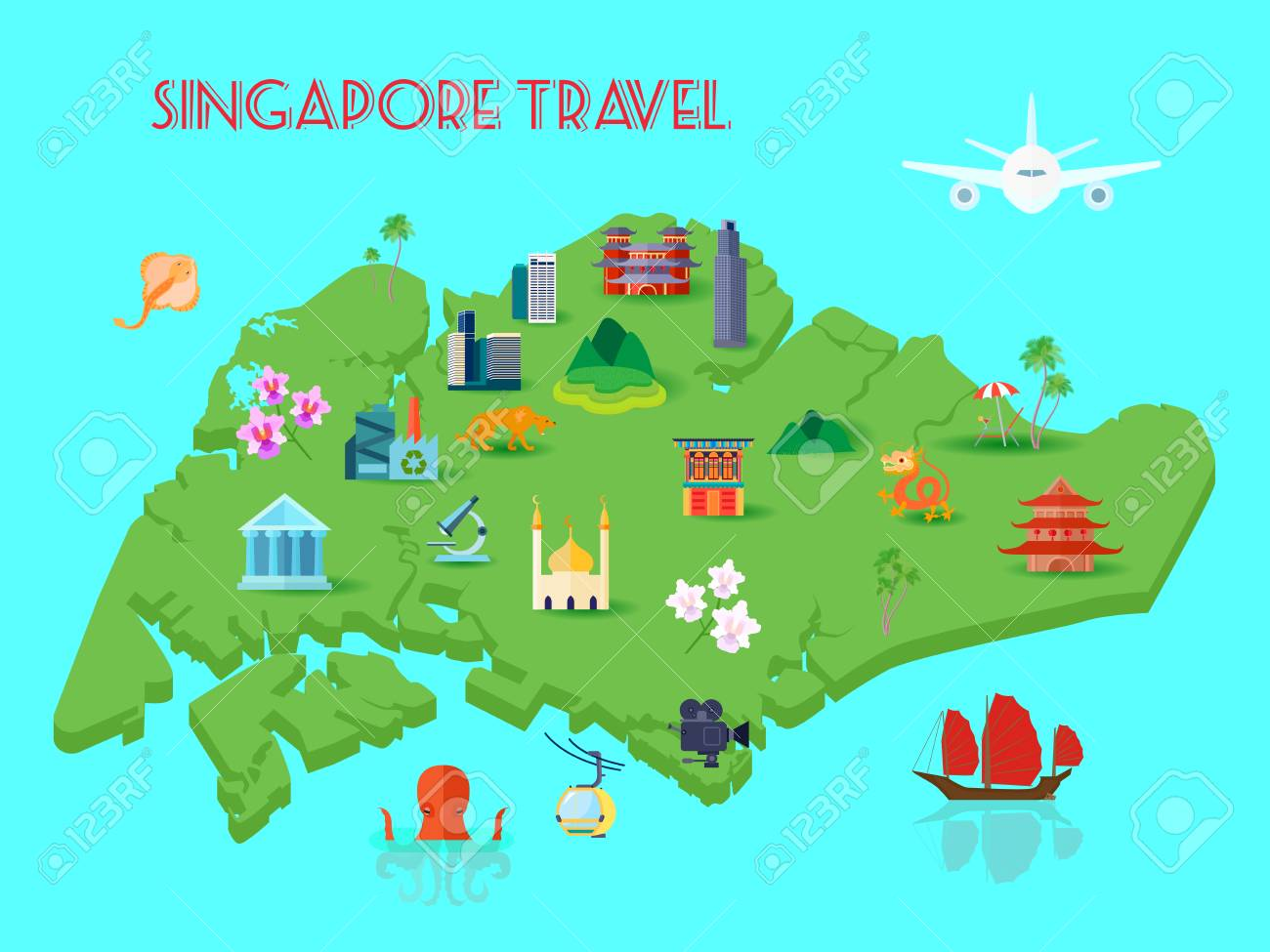 Colored Singapore culture composition with mainland in middle of the ocean with various sights vector illustration - 108291832