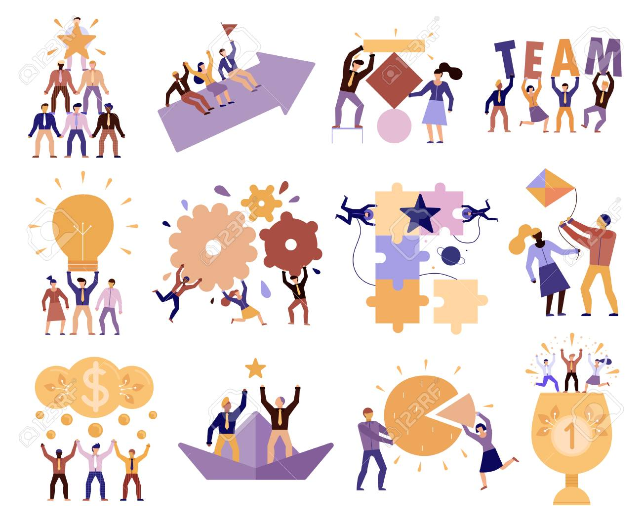 Effective teamwork in workplace 12 cartoon compositions of successful team members cooperation trust goals commitment vector illustration - 108292403