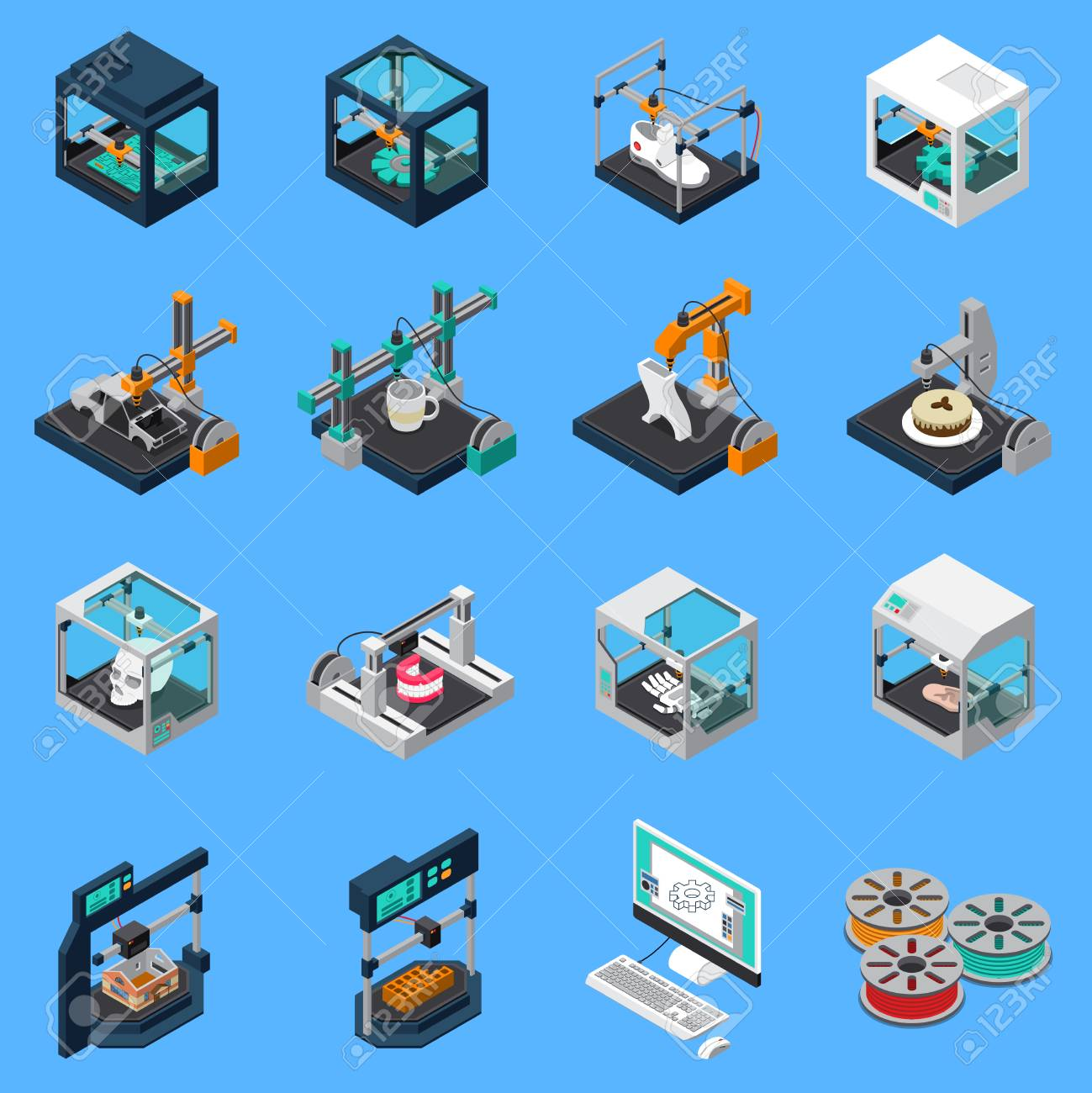 3D printing industry isometric icons collection with isolated icons of industrial stitching facilities and sewings machines vector illustration - 109877120