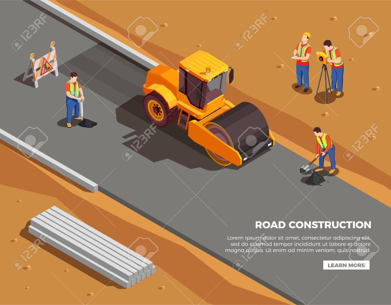 Builders and surveyors with machinery and warning signs during road construction isometric composition vector illustration - 109877149