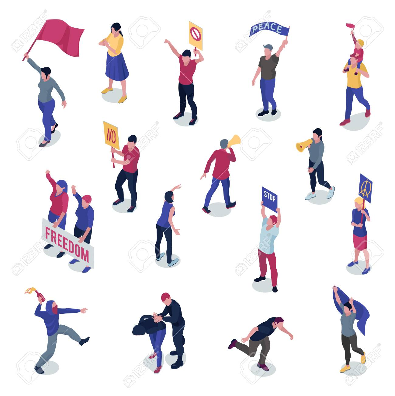 Protesting people with placards and flags during manifestation or picketing set of isometric icons isolated vector illustration - 109732683