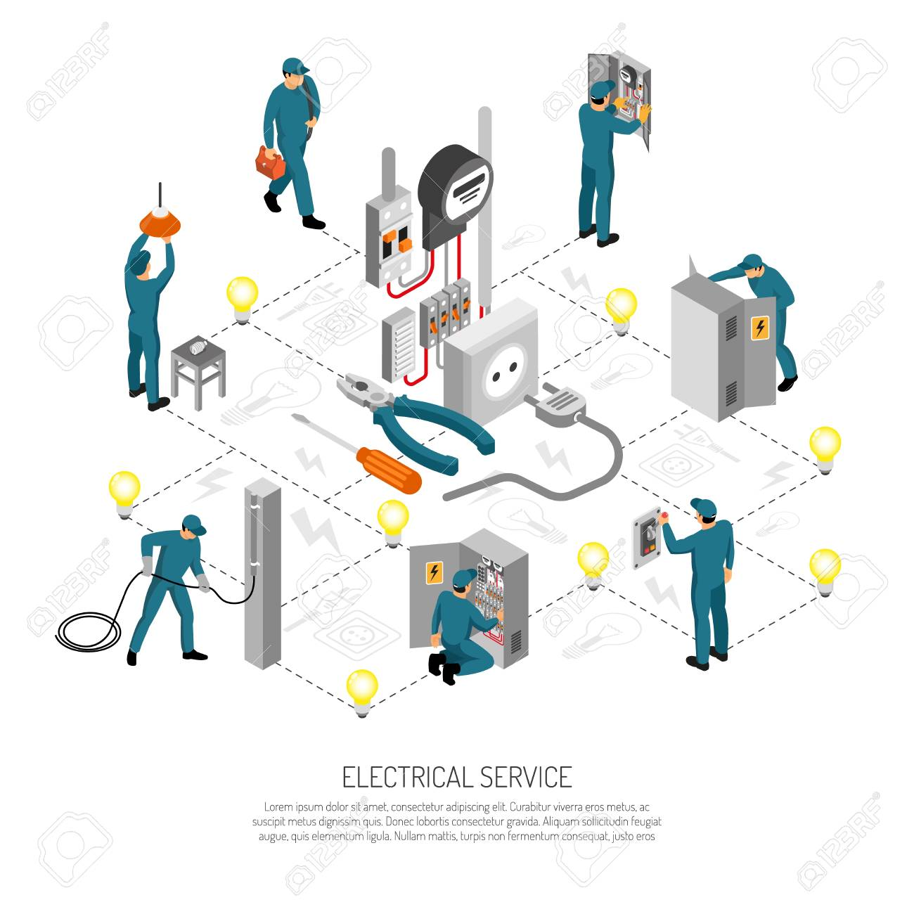 Isometric electrician composition with editable text lines icons and isolated images of linesmen doing various works vector illustration - 109732702