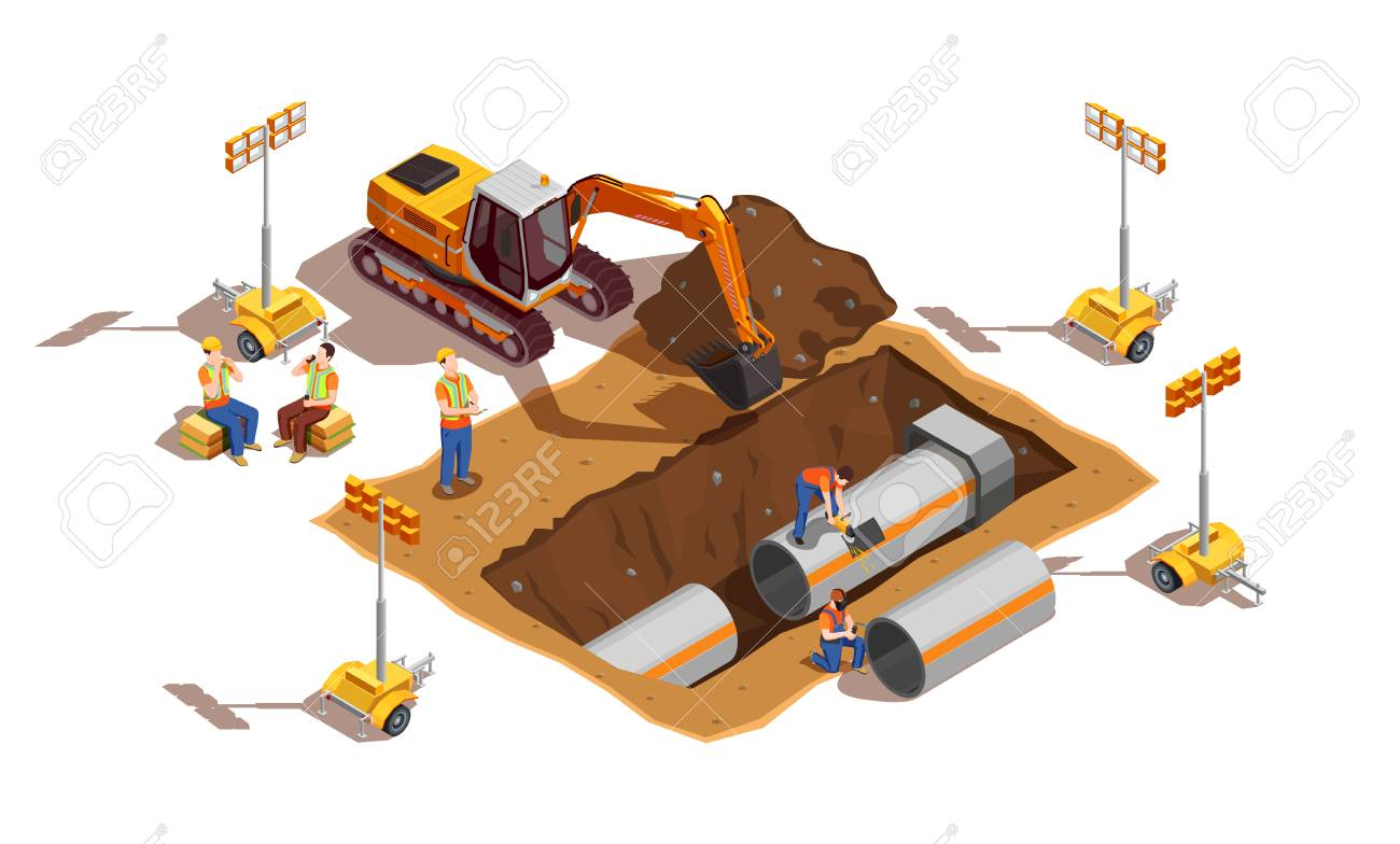 Builders with construction vehicle and lighting equipment during laying of pipes isometric composition vector illustration - 109732711