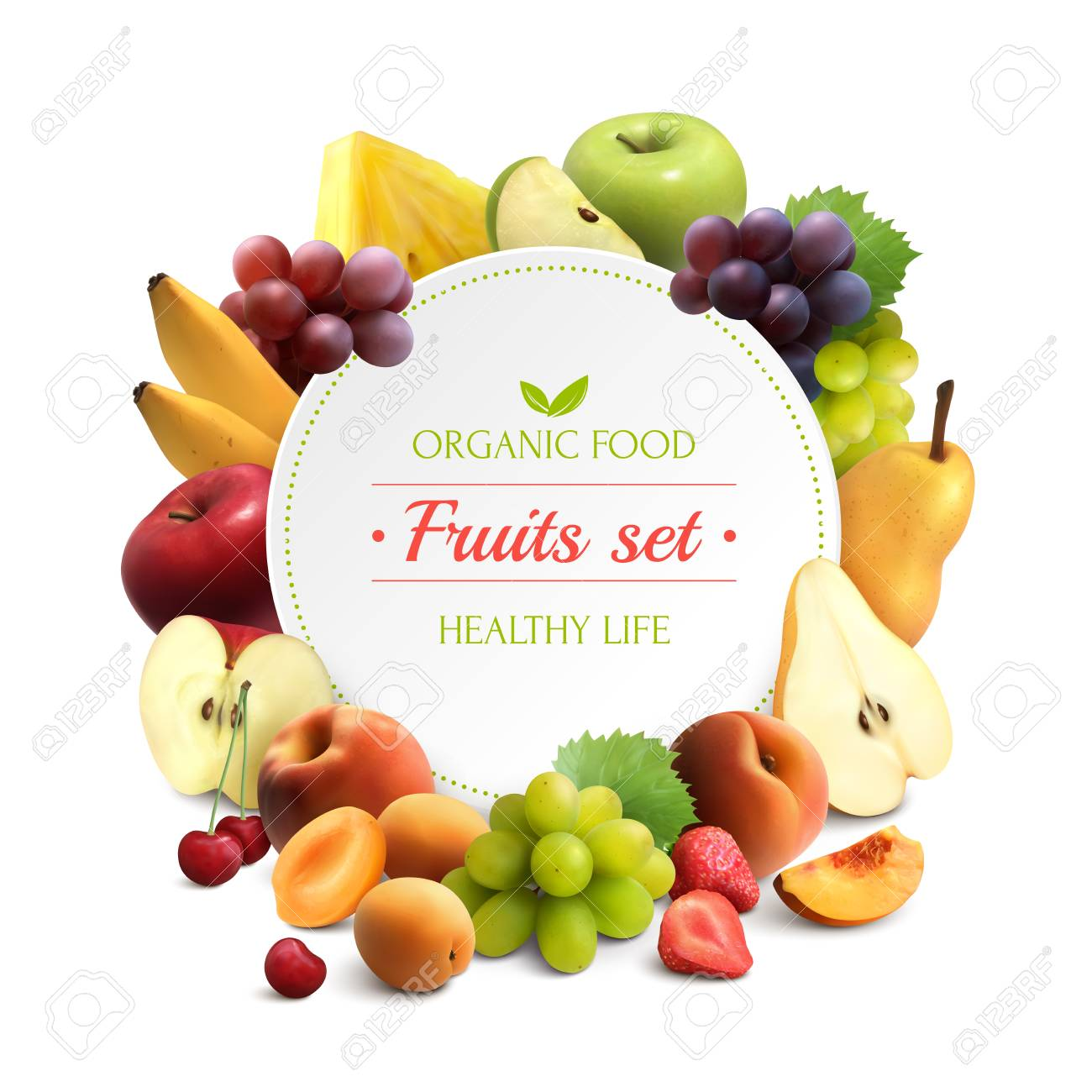 Organic food colorful background with fruits frame and round place for text realistic vector illustration - 108938285