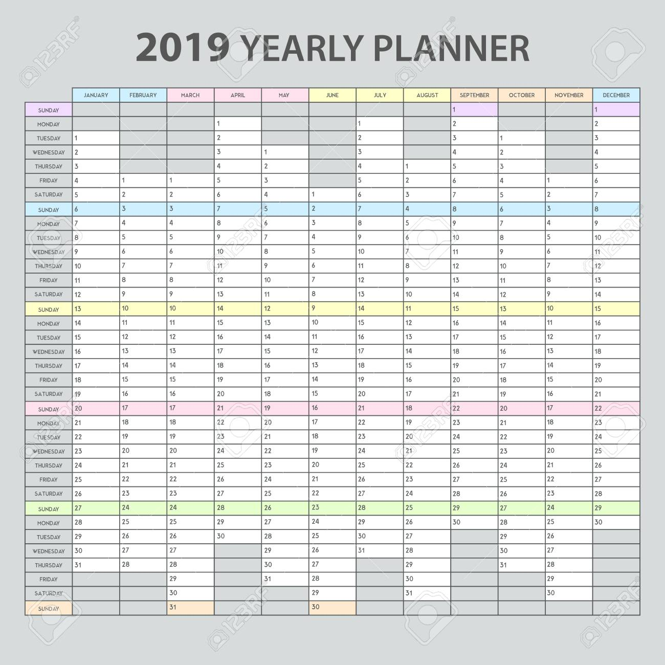 image relating to Printable Planner referred to as Each year planner 2019 acceptable printable template for office environment appointments..