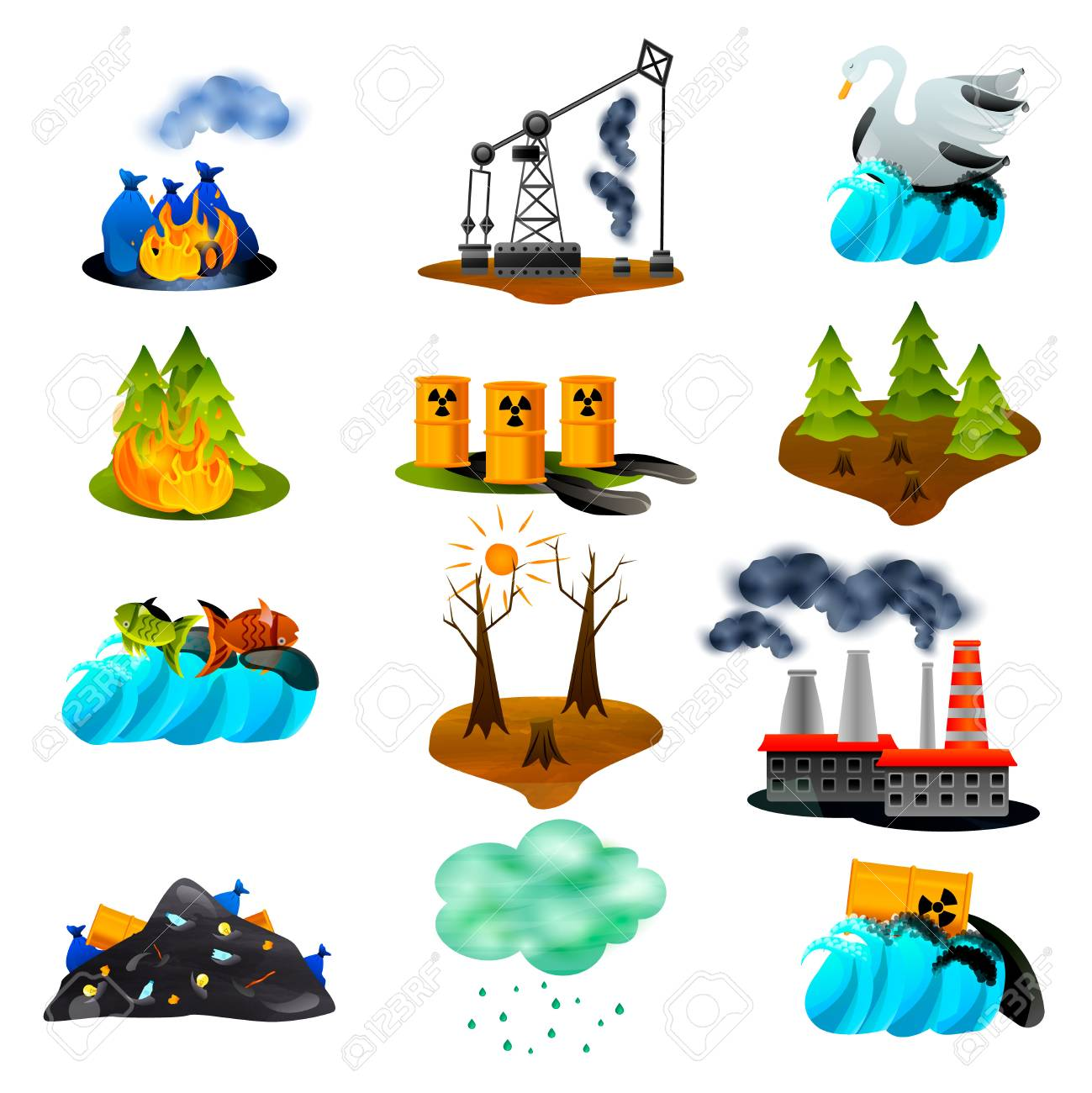 Ecological problems set of flat icons with air and ocean pollution toxic waste deforestation isolated vector illustration - 109672457