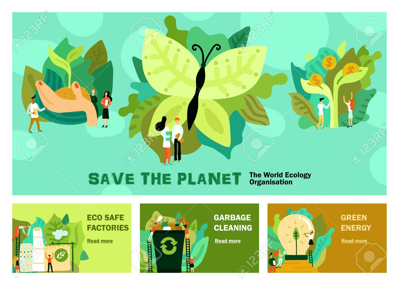 Environmental restoration set of horizontal banners with green energy garbage cleaning eco safe factory isolated vector illustration - 109286935