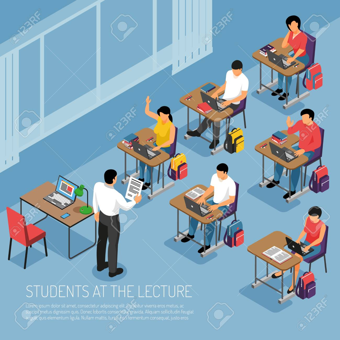 Higher education students taking notes at tutorial lecture participating in seminar seminar classes isometric composition vector illustration - 109270272