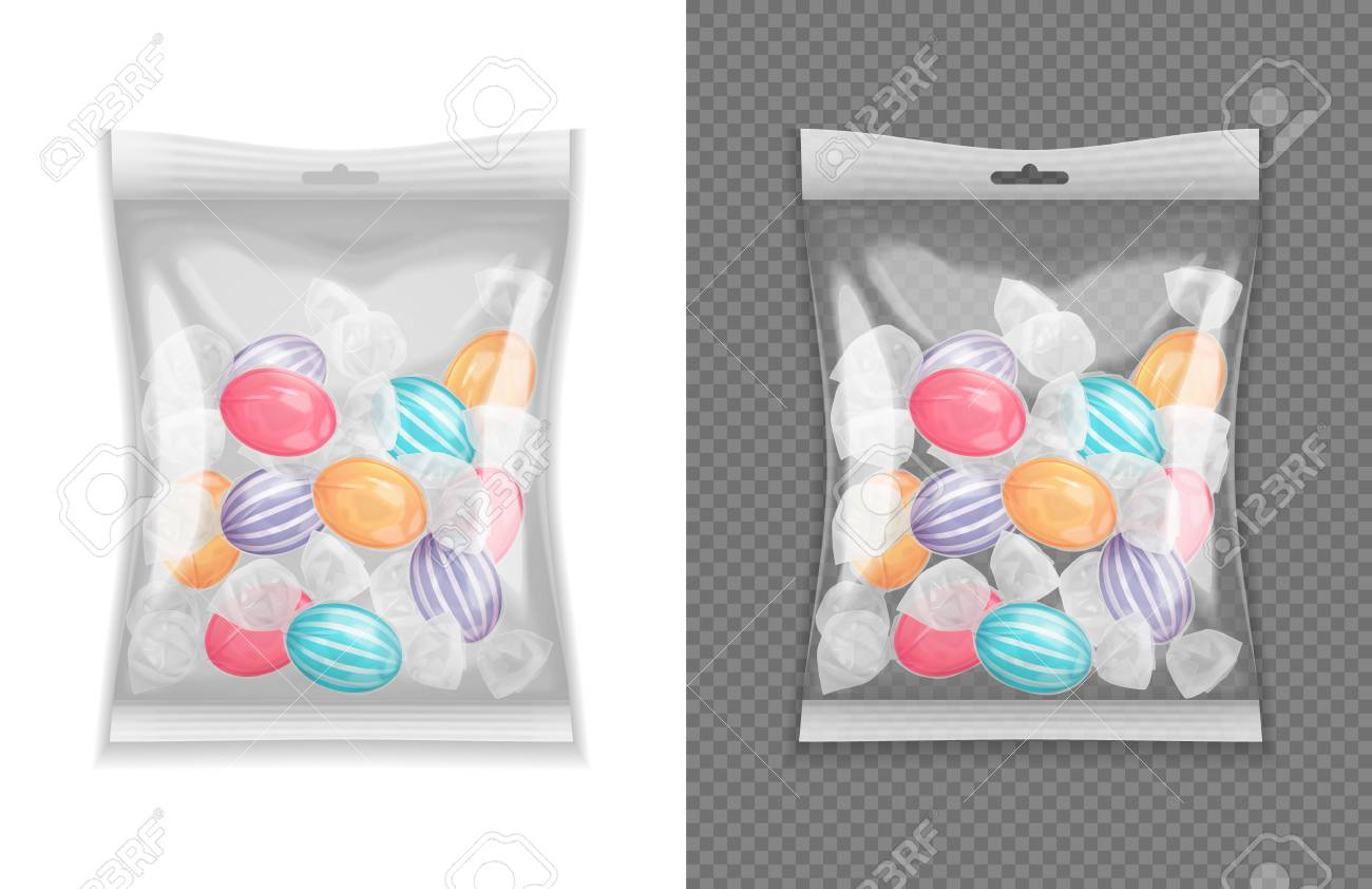 Realistic transparent lollypop candy package set isolated vector illustration - 109270276