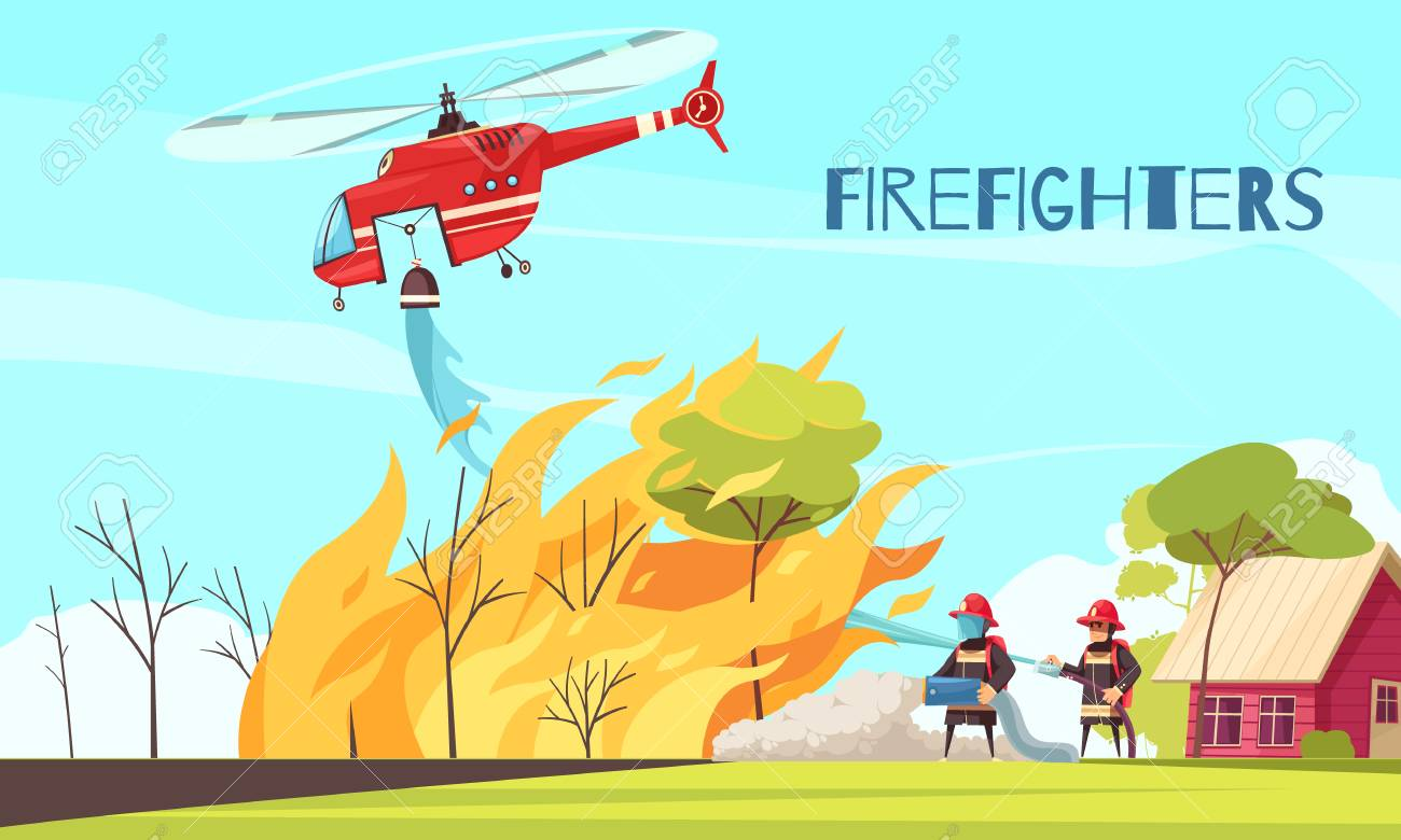 Firefighters outdoor composition with human characters of fire