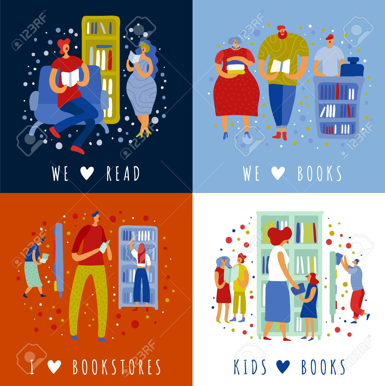 People adults and kids in book store during reading and literature purchase design concept isolated vector illustration - 128160324