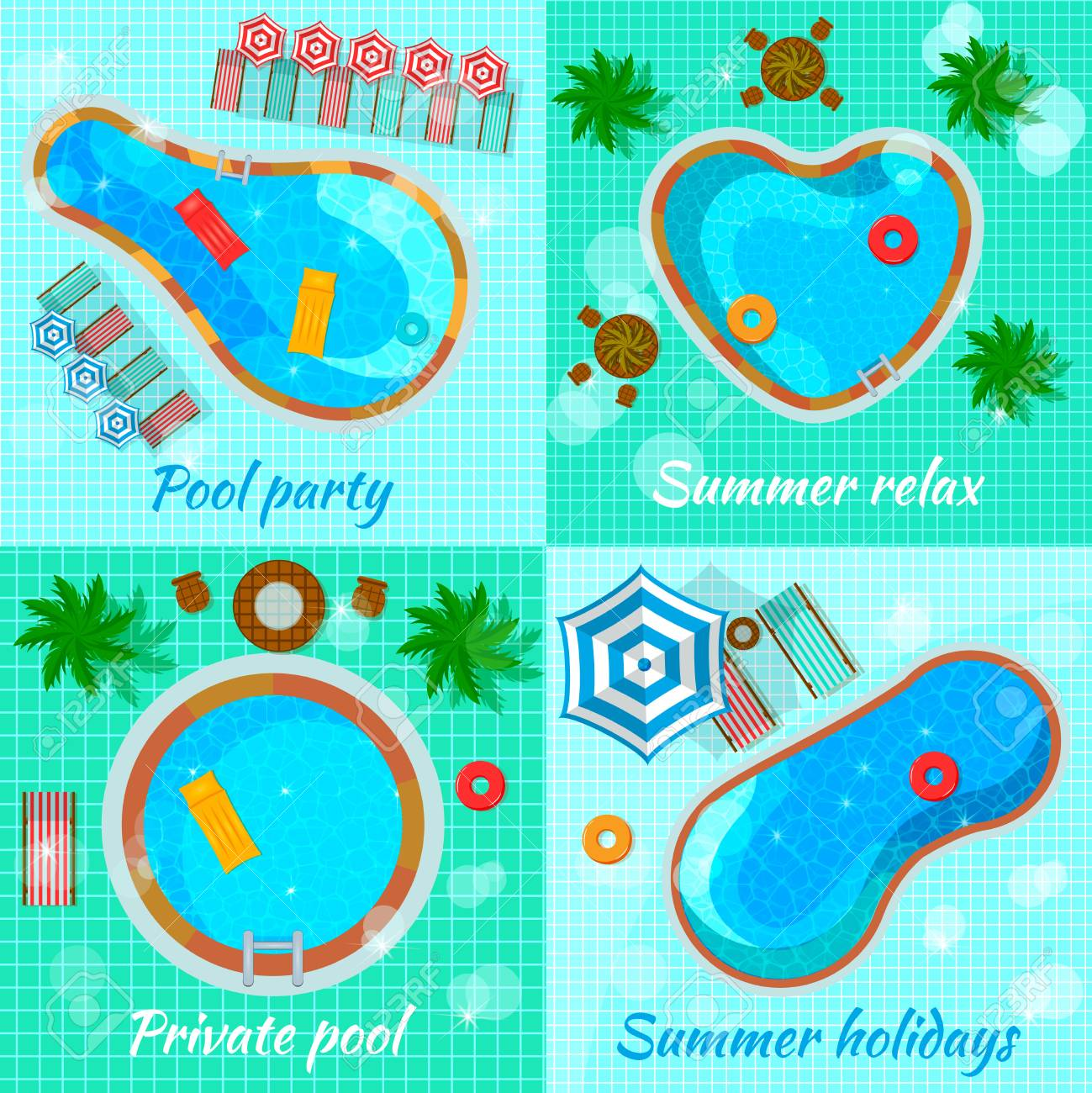 Swimming pools with accessories for various destination top view..