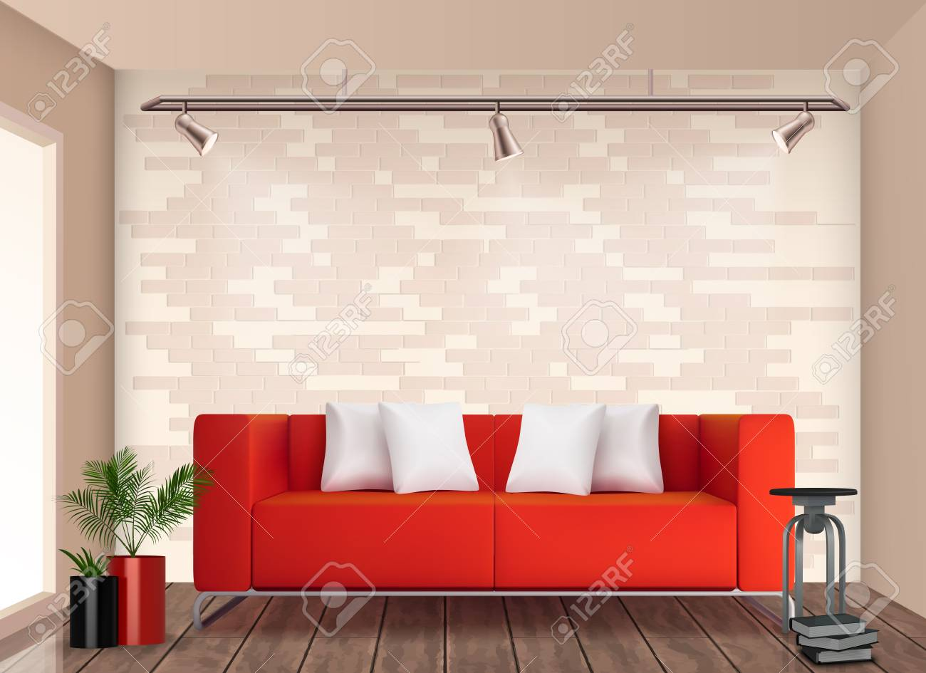 Small room stylish interior design with red sofa and flower pot brighten up neutral walls realistic vector illustration - 109843178