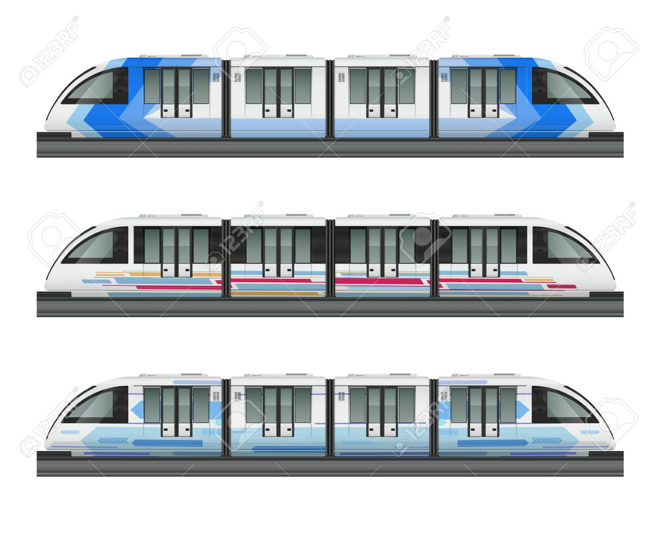 Passenger tram train realistic mockup with side view of three metropolitan trains with various coloring livery vector illustration - 128160367