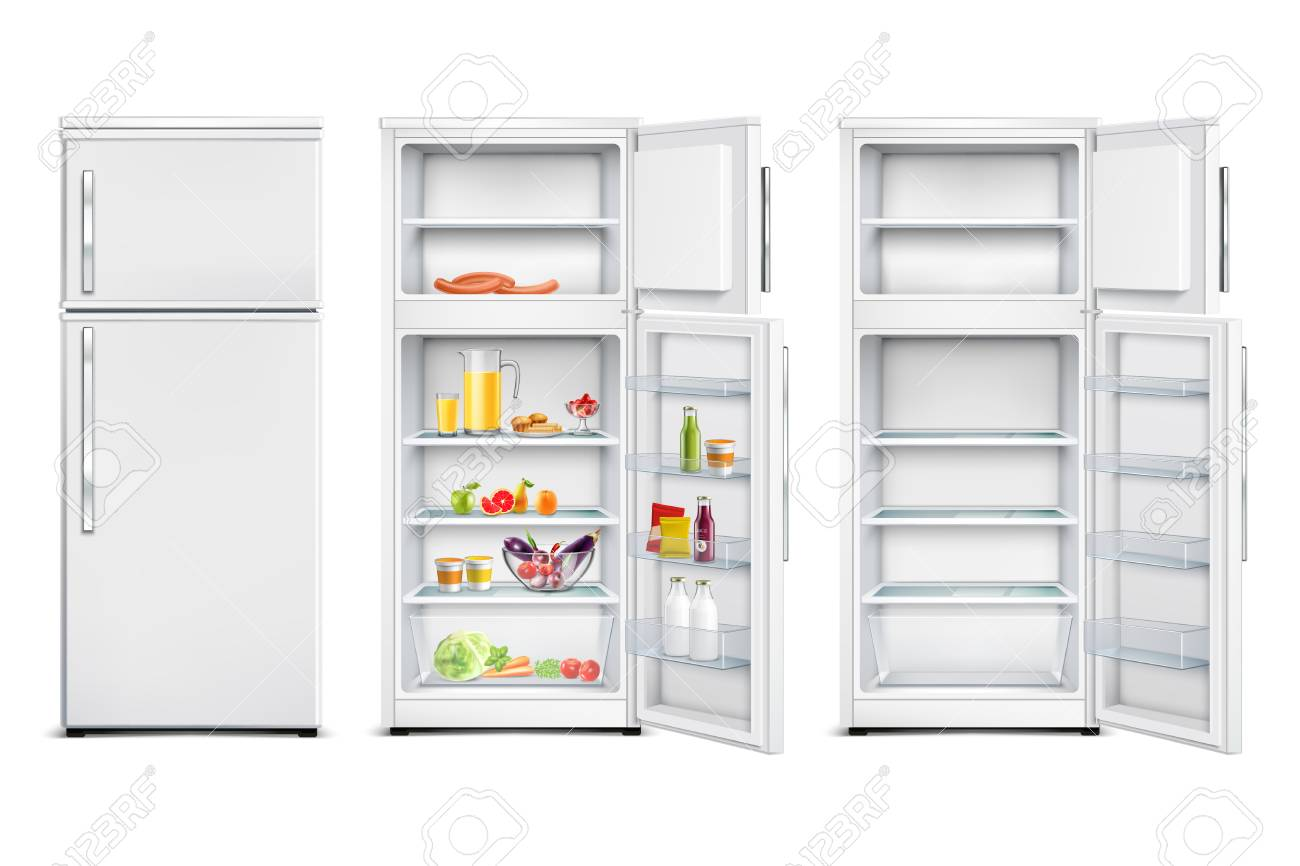 Refrigerator fridge realistic set of isolated storage units with products open and closed door - 110165147