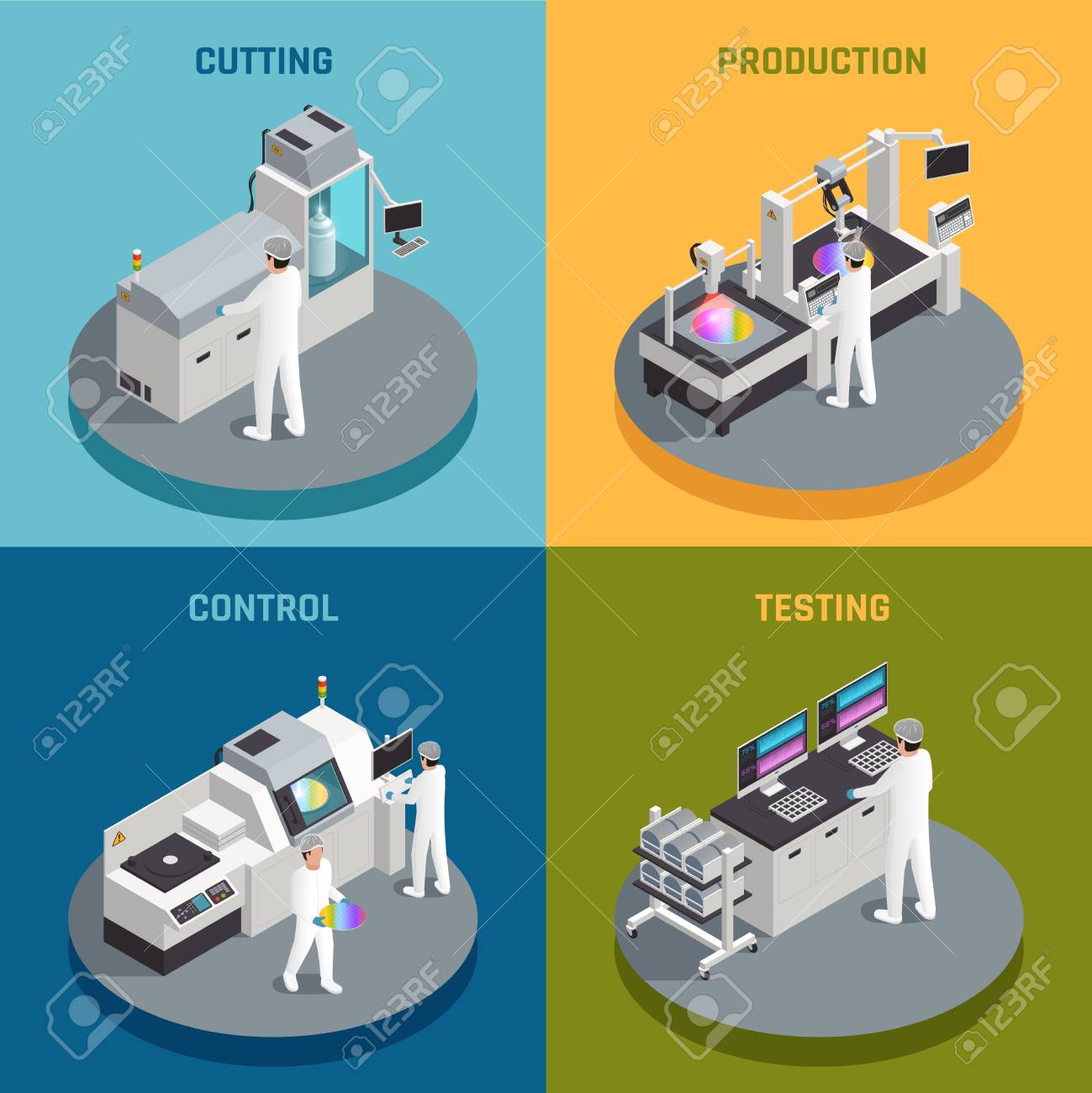 Semiconductor chip production isometric 2x2 design concept with images representing different stages of silicon chips manufactoring vector illustration - 128160423