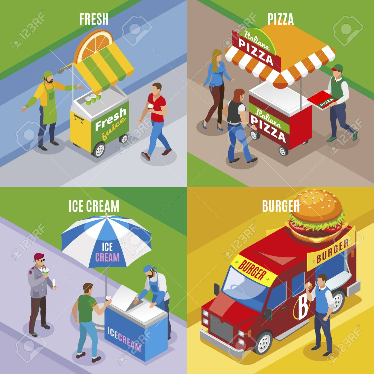 Street food isometric design concept with fresh juice pizza ice cream and burger isolated vector illustration - 128160447
