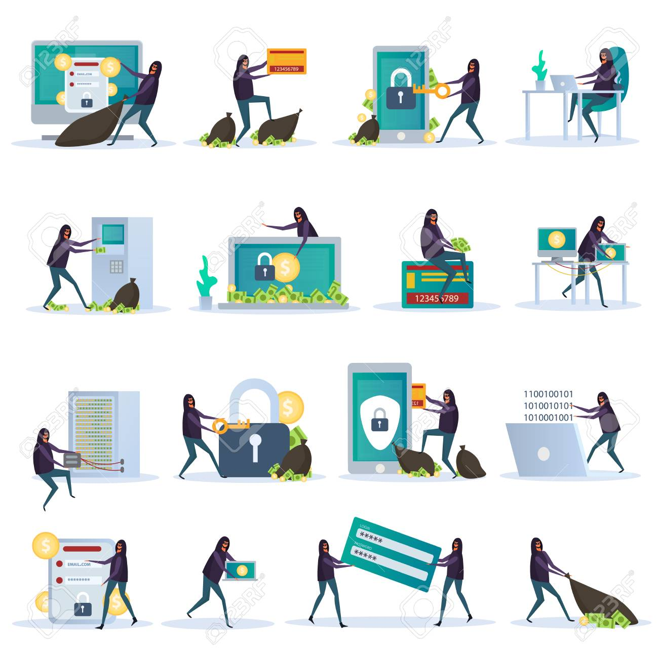 Cyber security set of flat icons electronic devices with data protection and hacker activity isolated vector illustration - 110276500