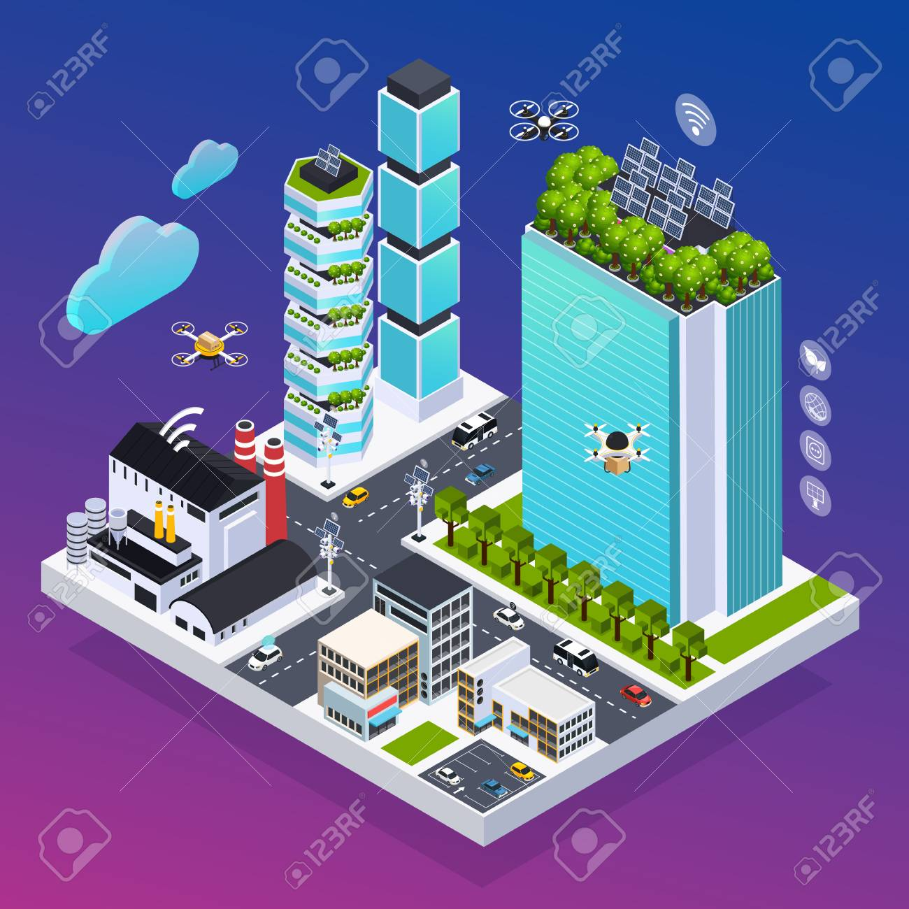 Smart city composition with eco technology symbols isometric vector illustration - 110647085