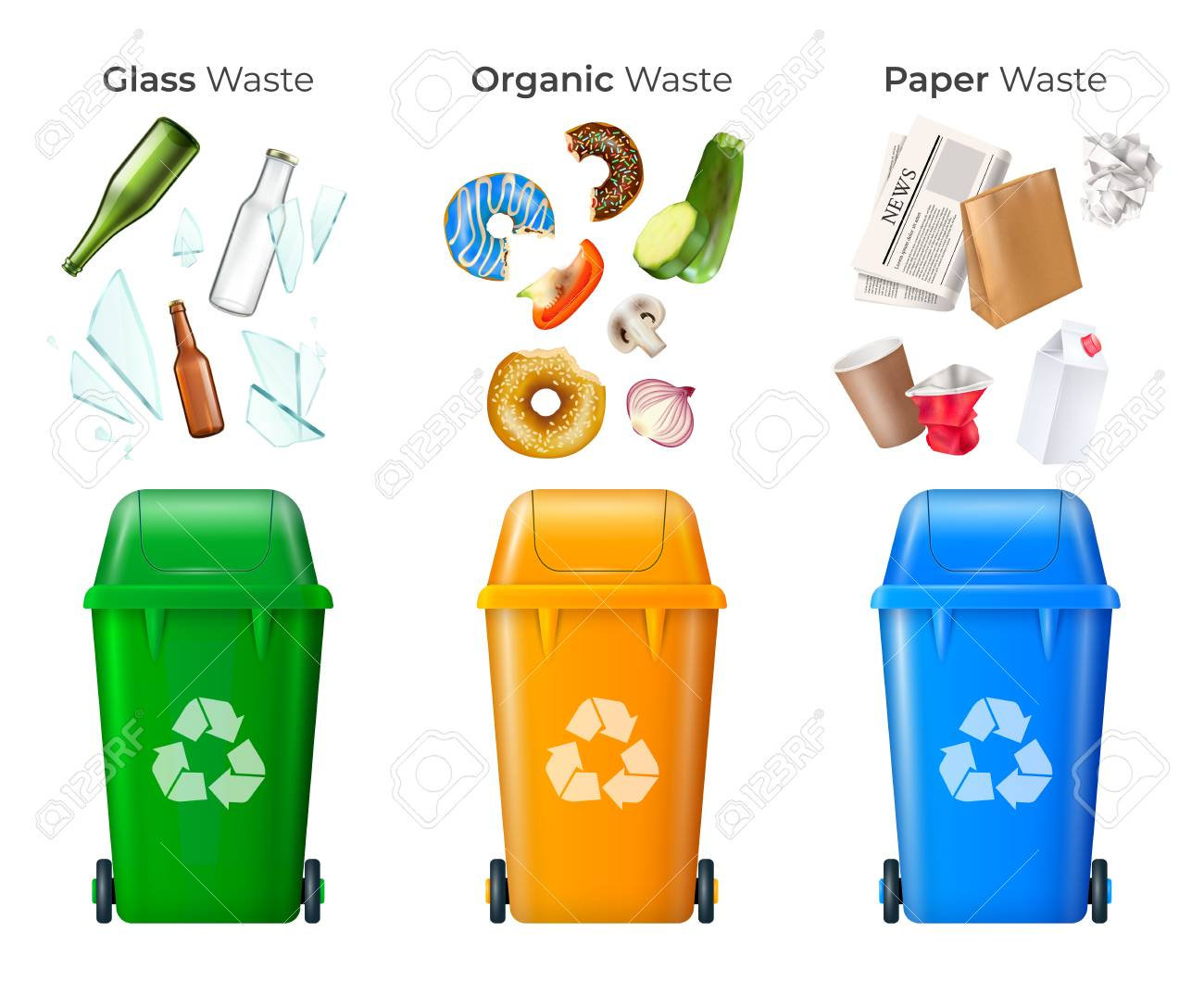 Trash and recycling set with glass and organic waste realistic isolated vector illustration - 110844703