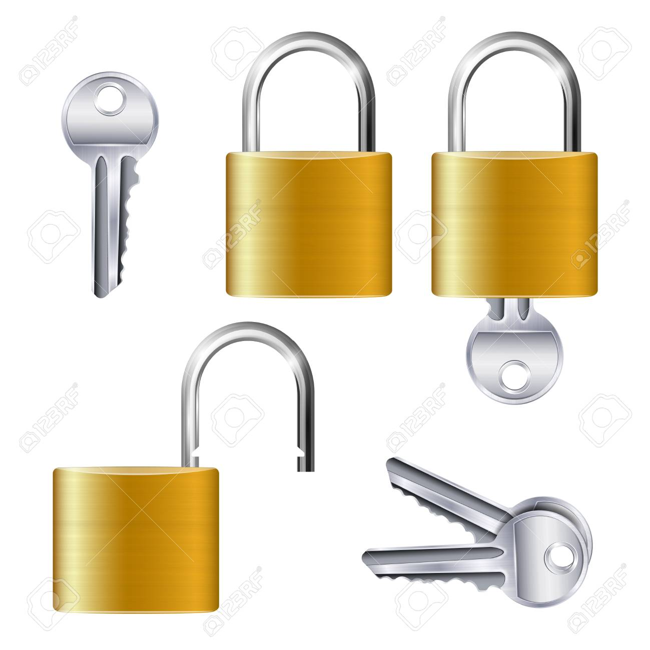 Realistic set of identical gold metallic open and closed padlocks and keys on white background isolated vector illustration - 128160647
