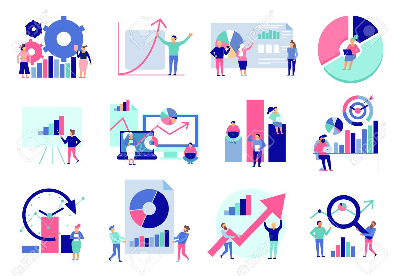 Data analytics diagrams graphic results presentation analysis tools techniques decision making flat icons collection isolated vector illustration - 111823915