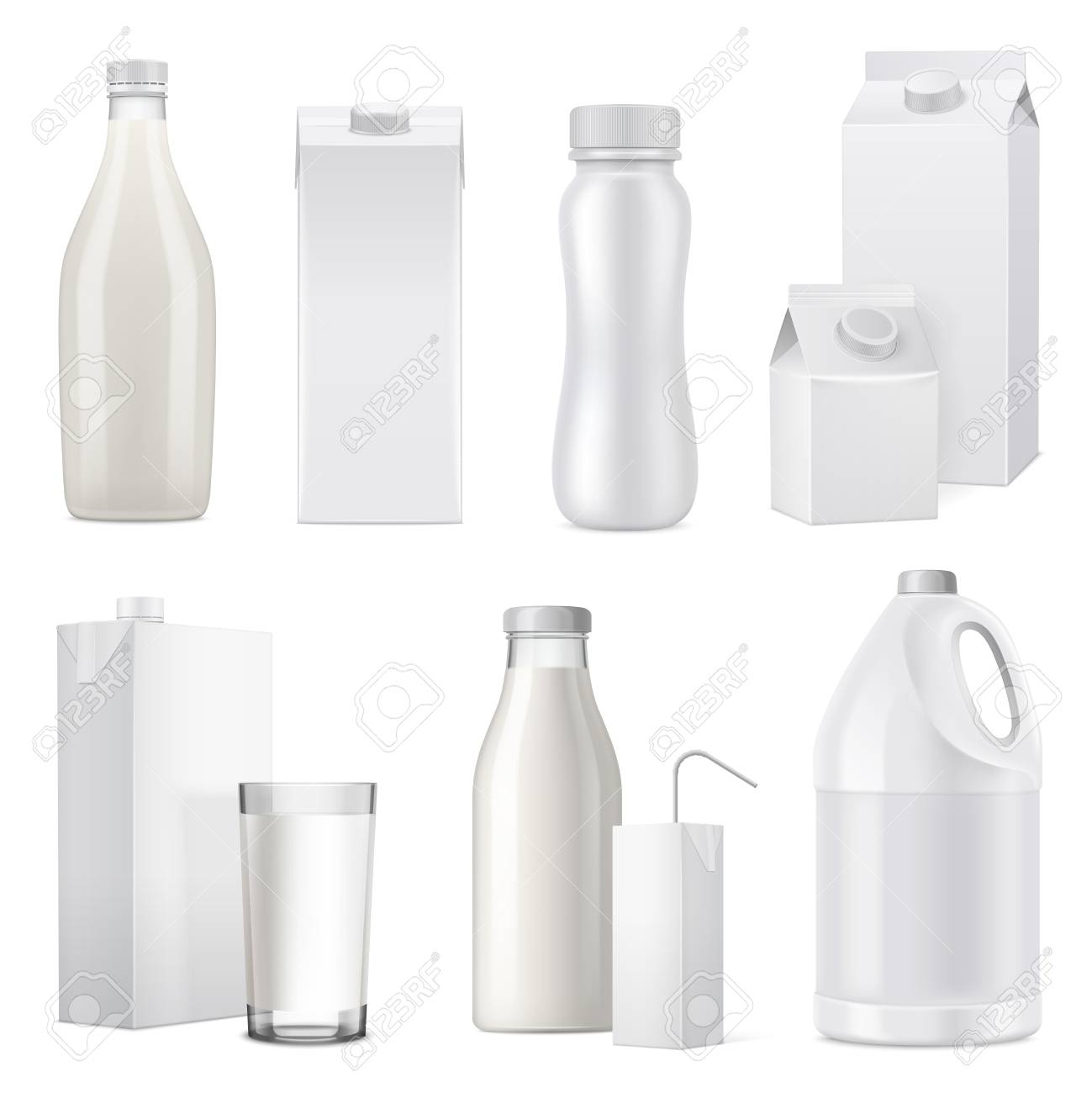 Isolated white realistic milk bottle package icon set from glass plastic and paper vector illustration - 112289588