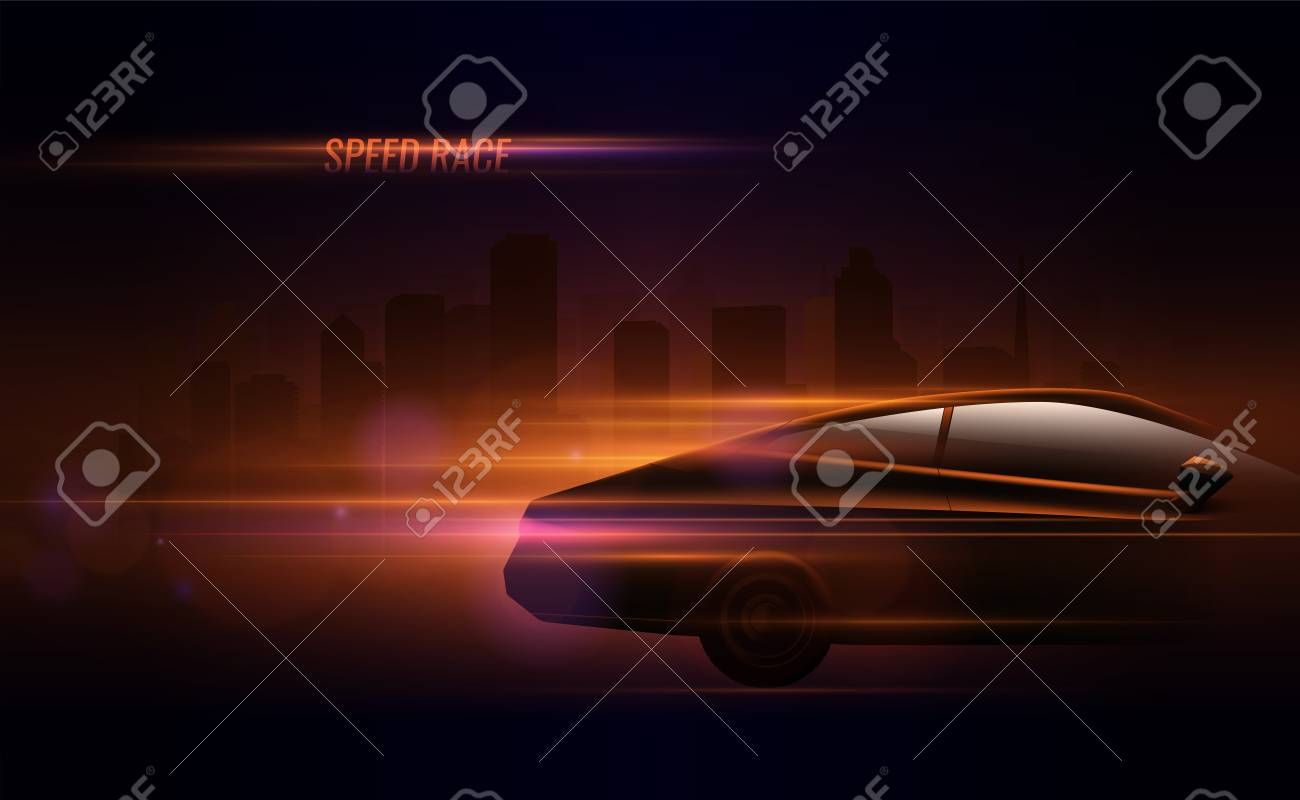 High speed race hatchback car trailing lights motion effect realistic composition in night city street vector illustration - 112468360
