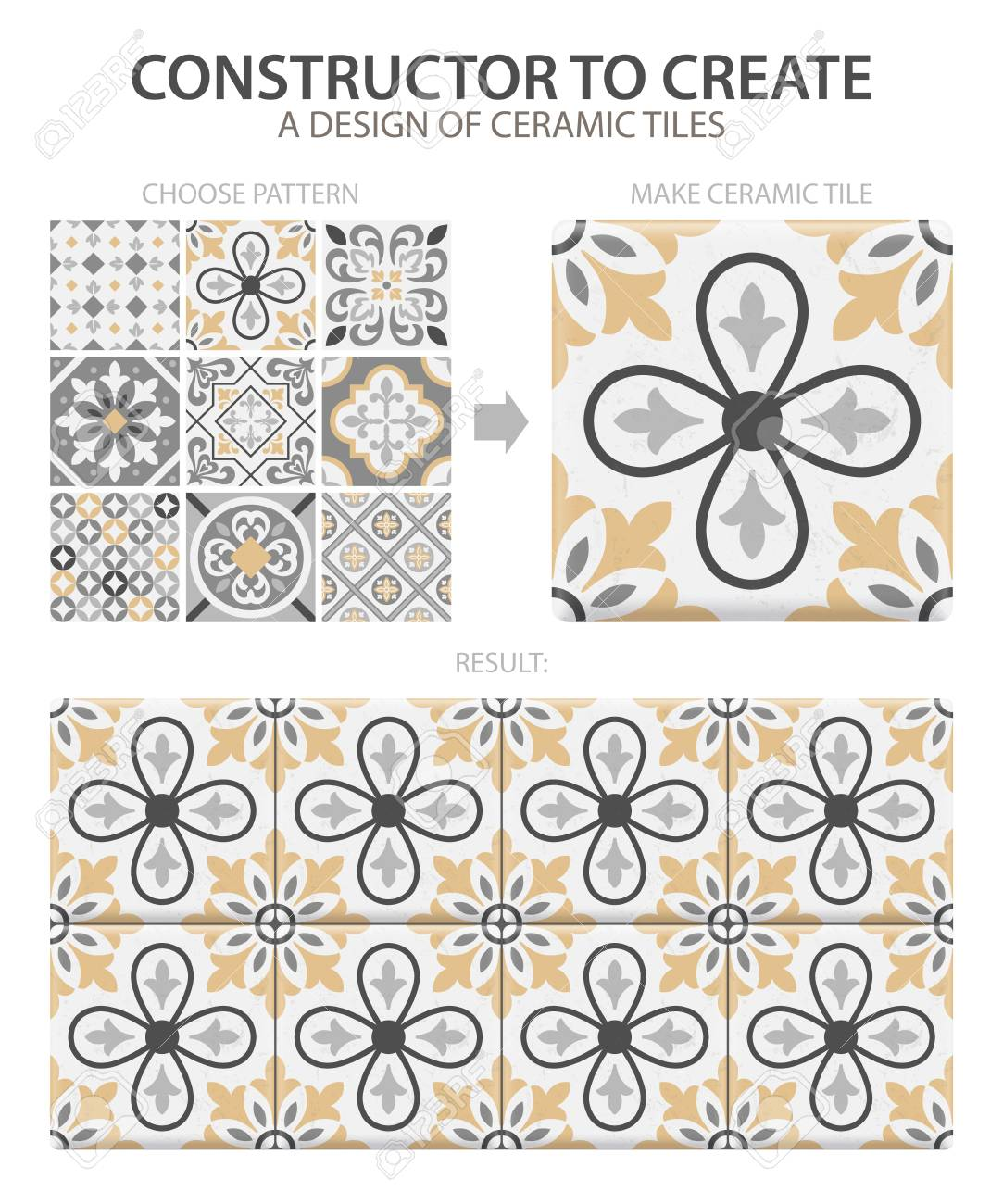 Realistic ceramic floor tiles vintage pattern with one type or set composed of different tiles vector illustration - 112542137