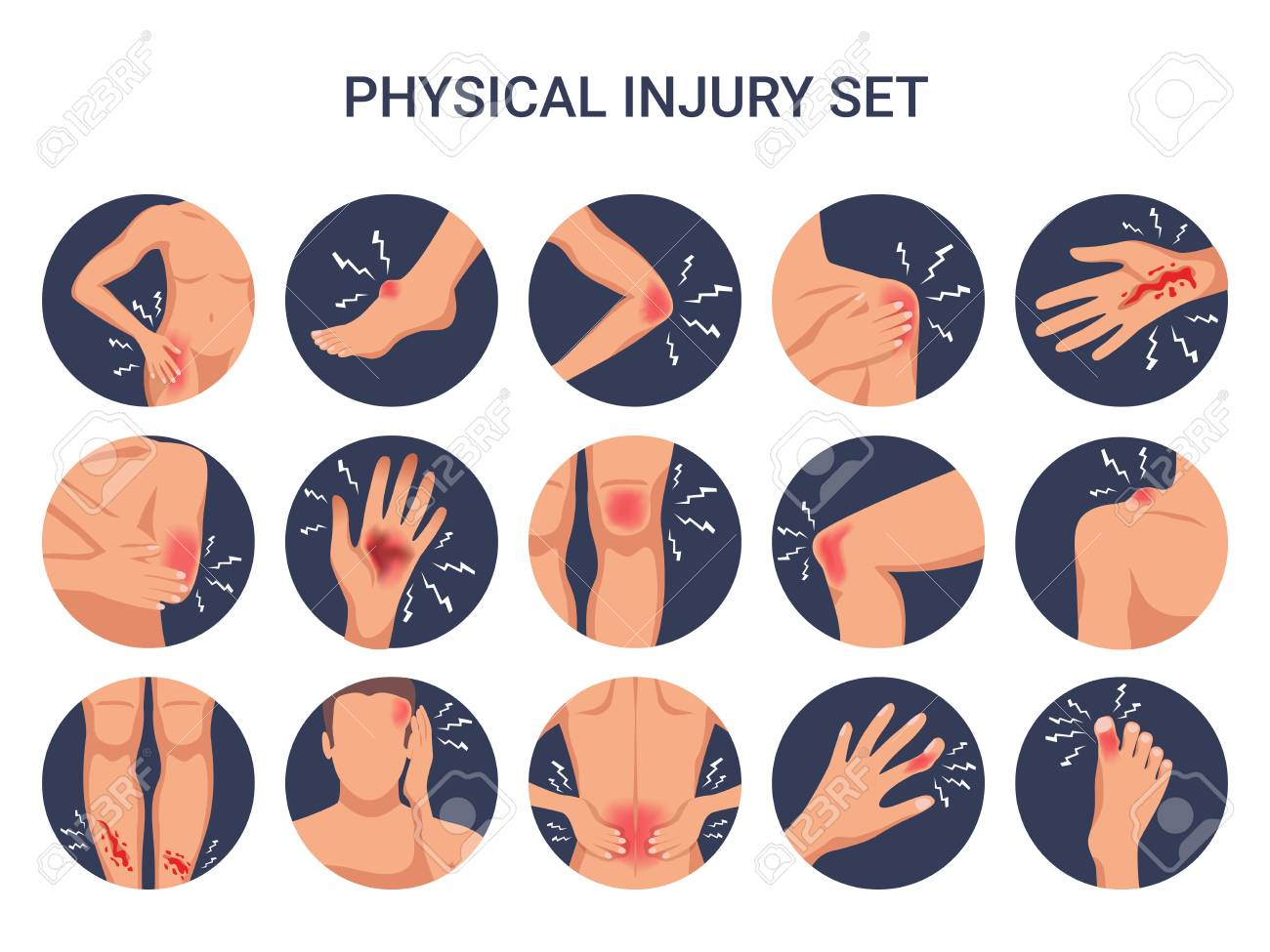 Human body physical injury round flat set with shoulder knee finger burn cut wounds isolated vector illustration - 112542040