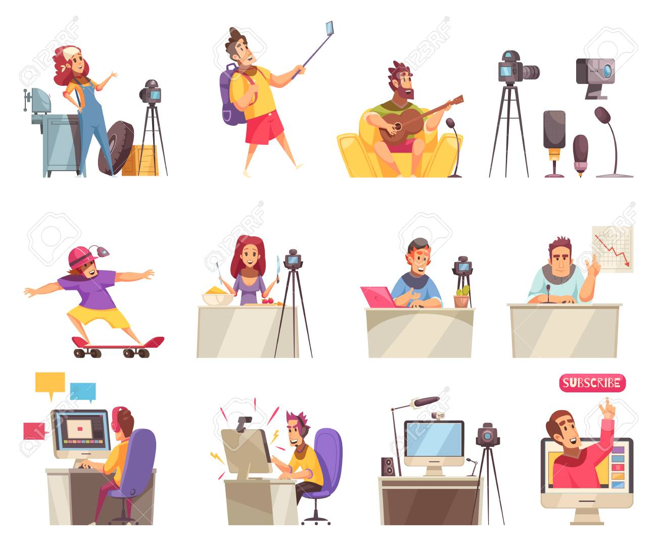 Blogger vlogger photo video blog set of isolated doodle style icons with human characters and pictograms vector illustration - 127413781