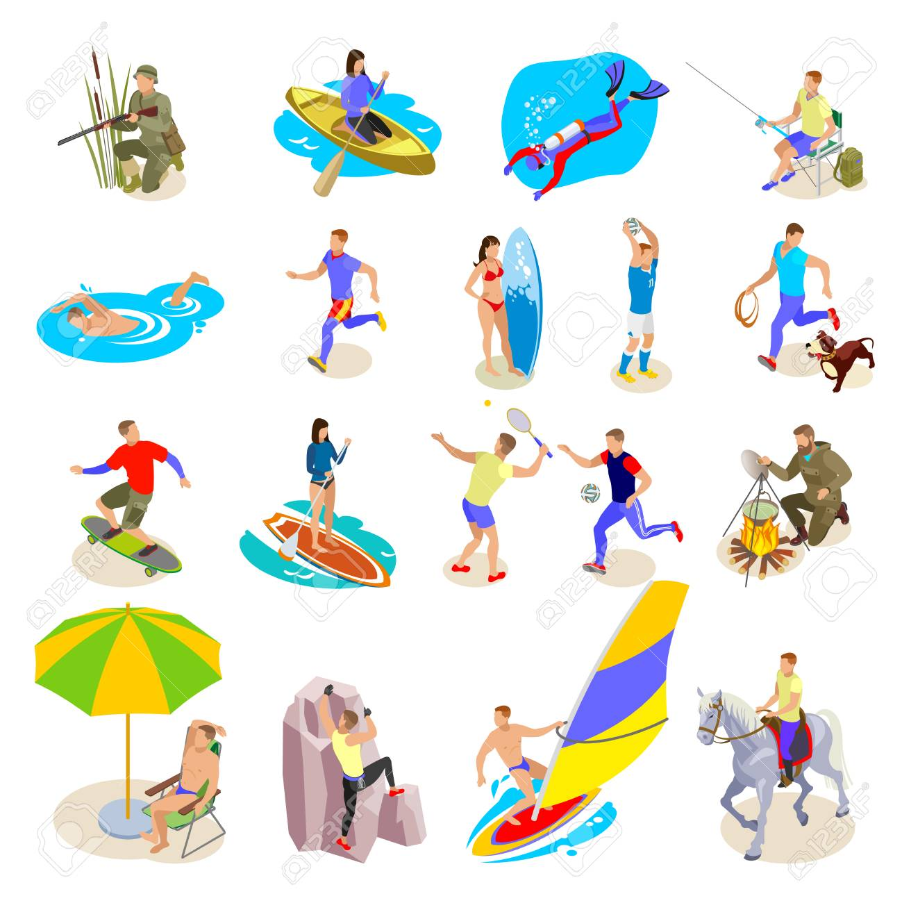 Outdoor activities icons set with sports and recreation symbols isometric isolated vector illustration - 127268777