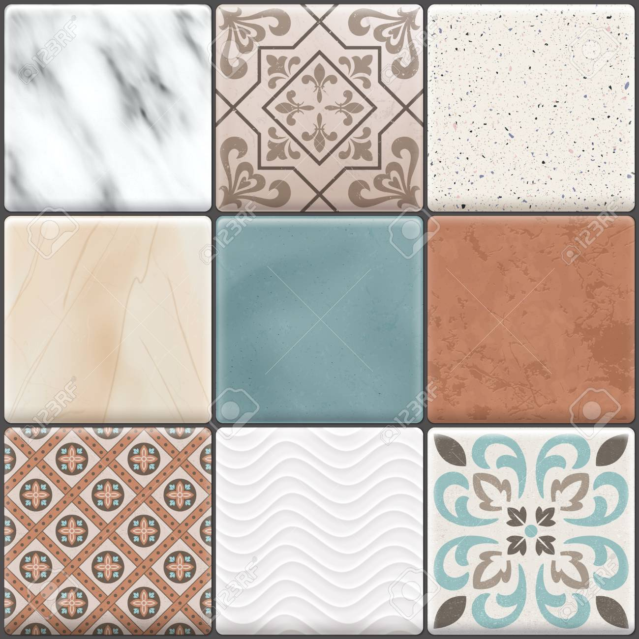 Colored Realistic Ceramic Floor Tiles Icon Set Different Types