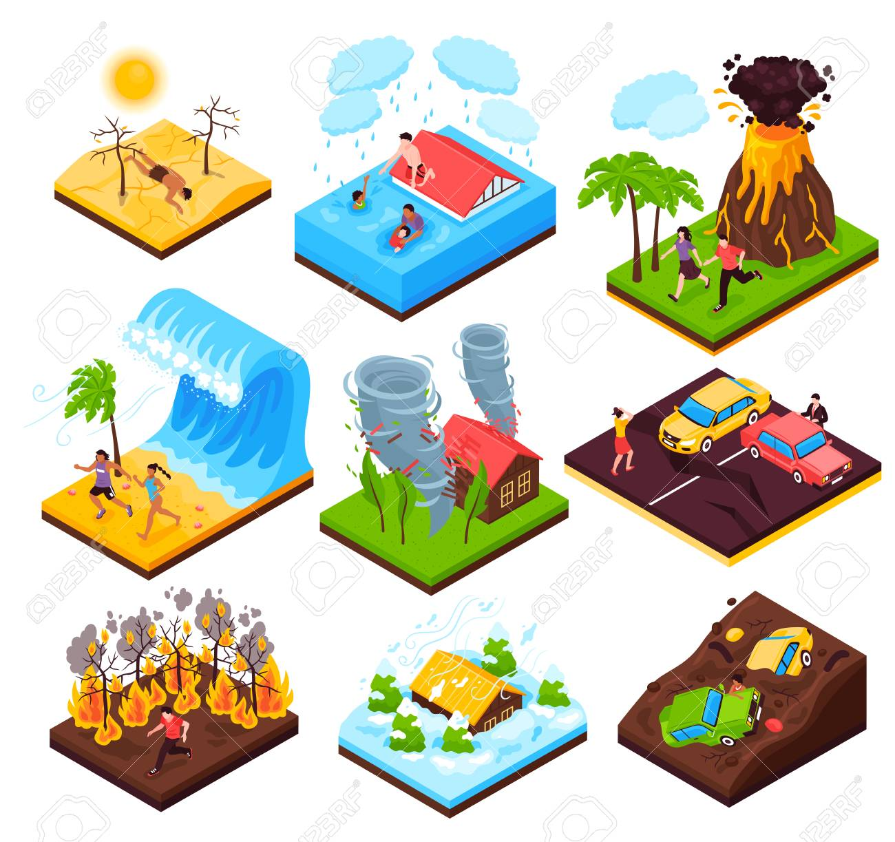 Natural disaster set of eruption wildfire flood tornado drought tsunami isometric compositions isolated vector illustration - 113030567