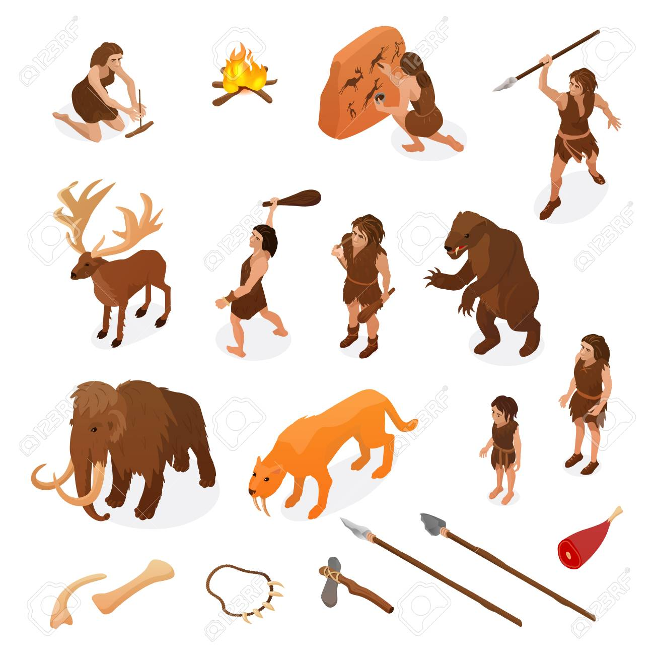 Primitive people life isometric set with hunting weapons starting fire rock painting dinosaur mammoth isolated vector illustration - 113030593