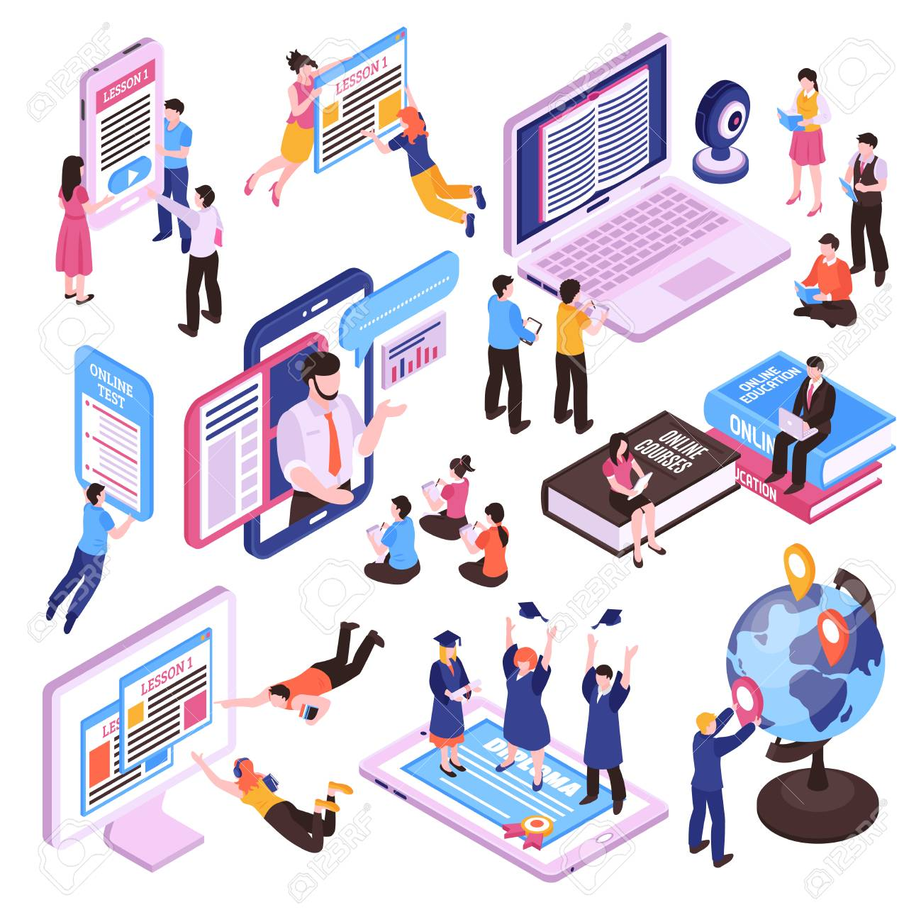 Online lessons isometric set of studying people using pc tablet and smartphone isolated vector illustration - 113305738