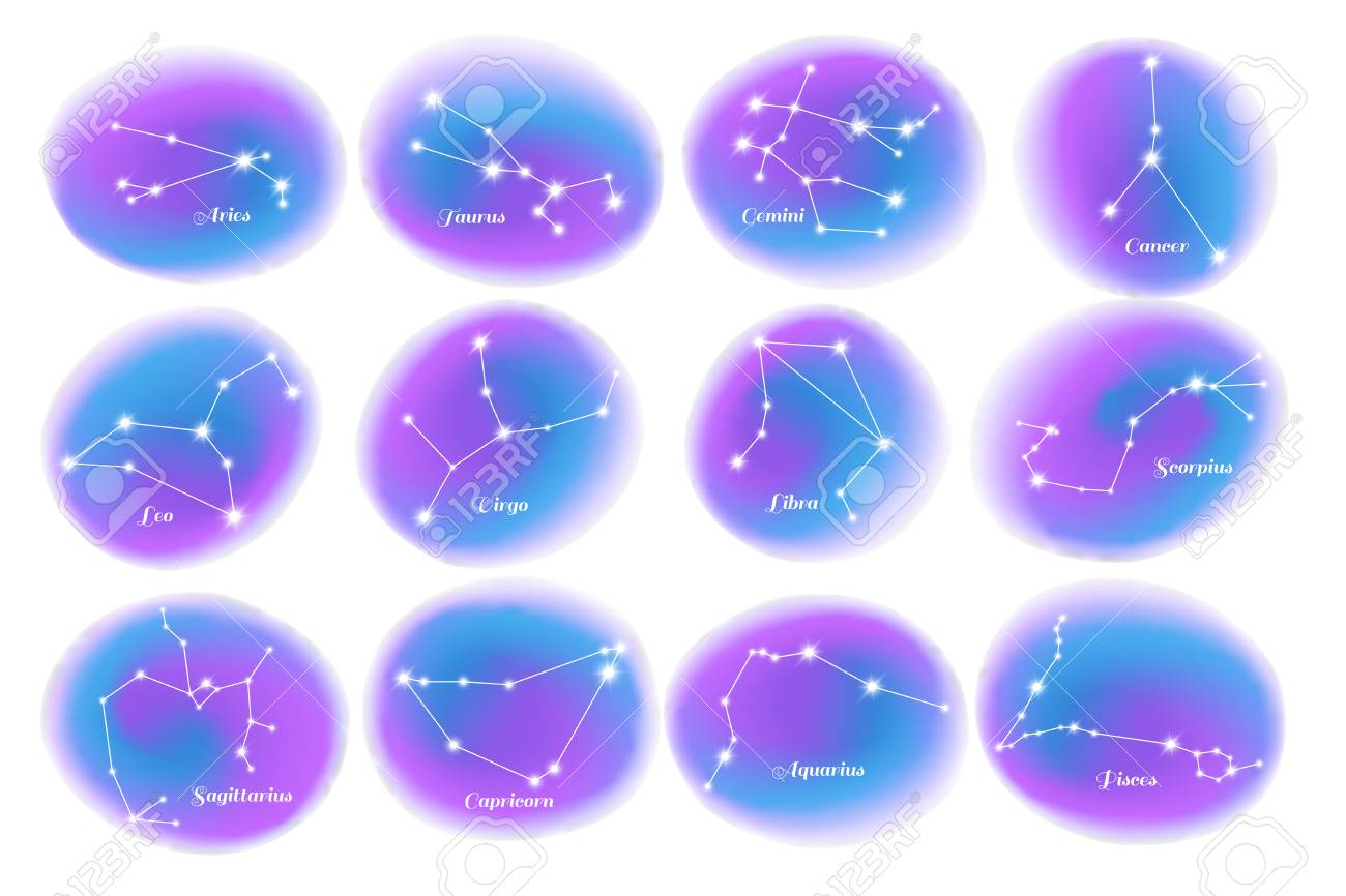 Astrology Zodiac Signs 12 Colorful Stars Constellations Charts Royalty Free Cliparts Vectors And Stock Illustration Image 113305518