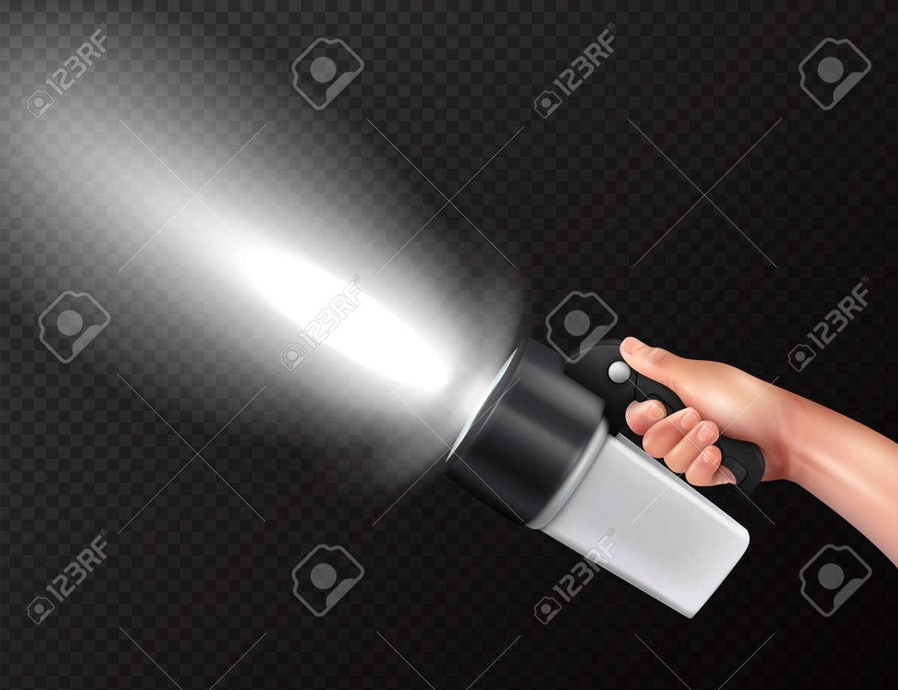 Modern powerful high lumen handheld torch flashlight in hand realistic composition against dark transparent background vector illustration - 113844632