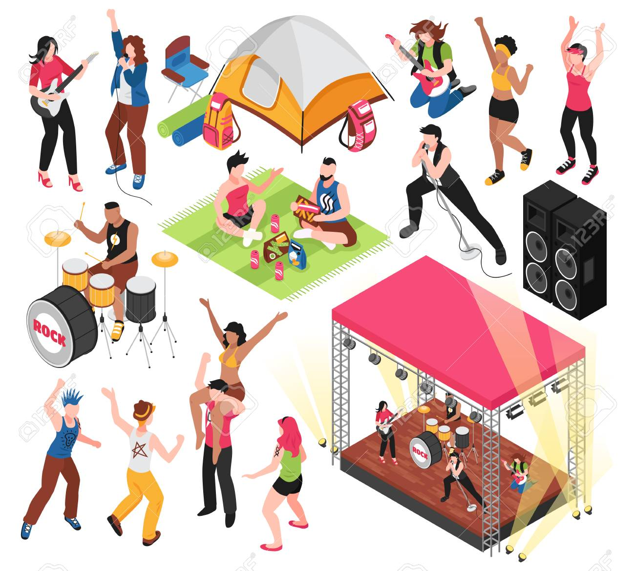 Open air music festival set with human characters of fest visitors and musicians isolated vector illustration - 126815852
