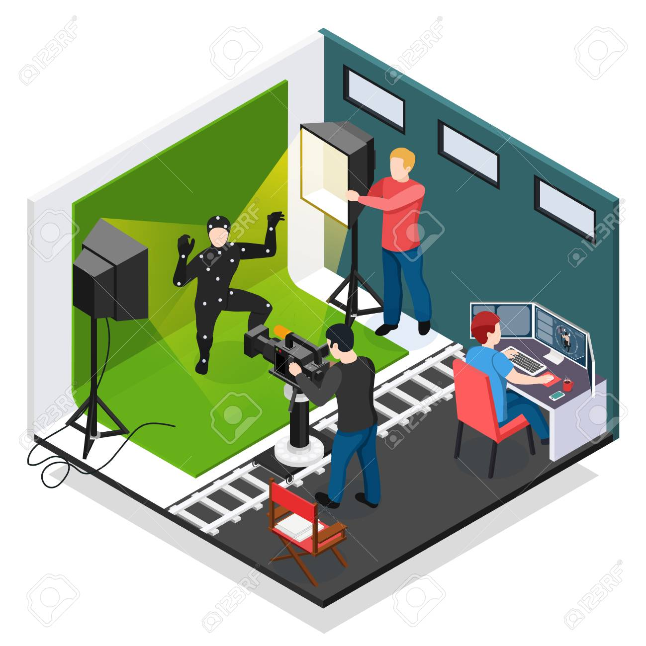 Cinema motion capture isometric composition with actor videographer
