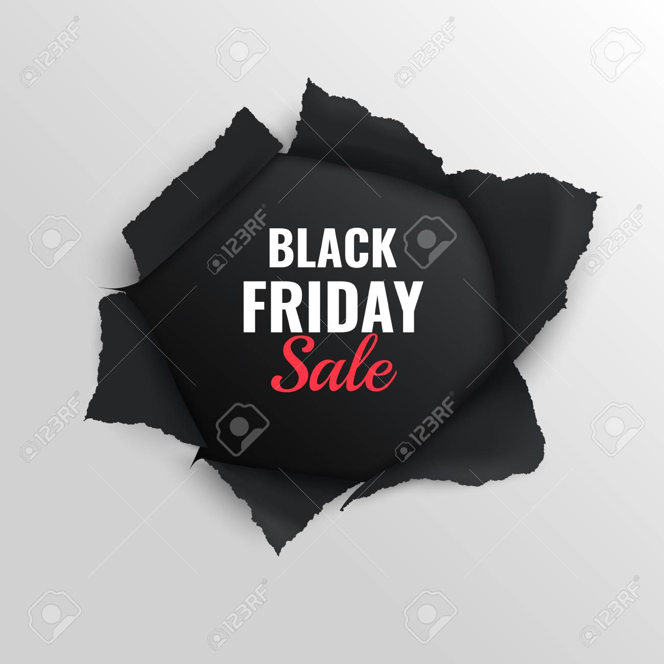 Black friday sale realistic composition on grey background with torn paper vector illustration - 114226654