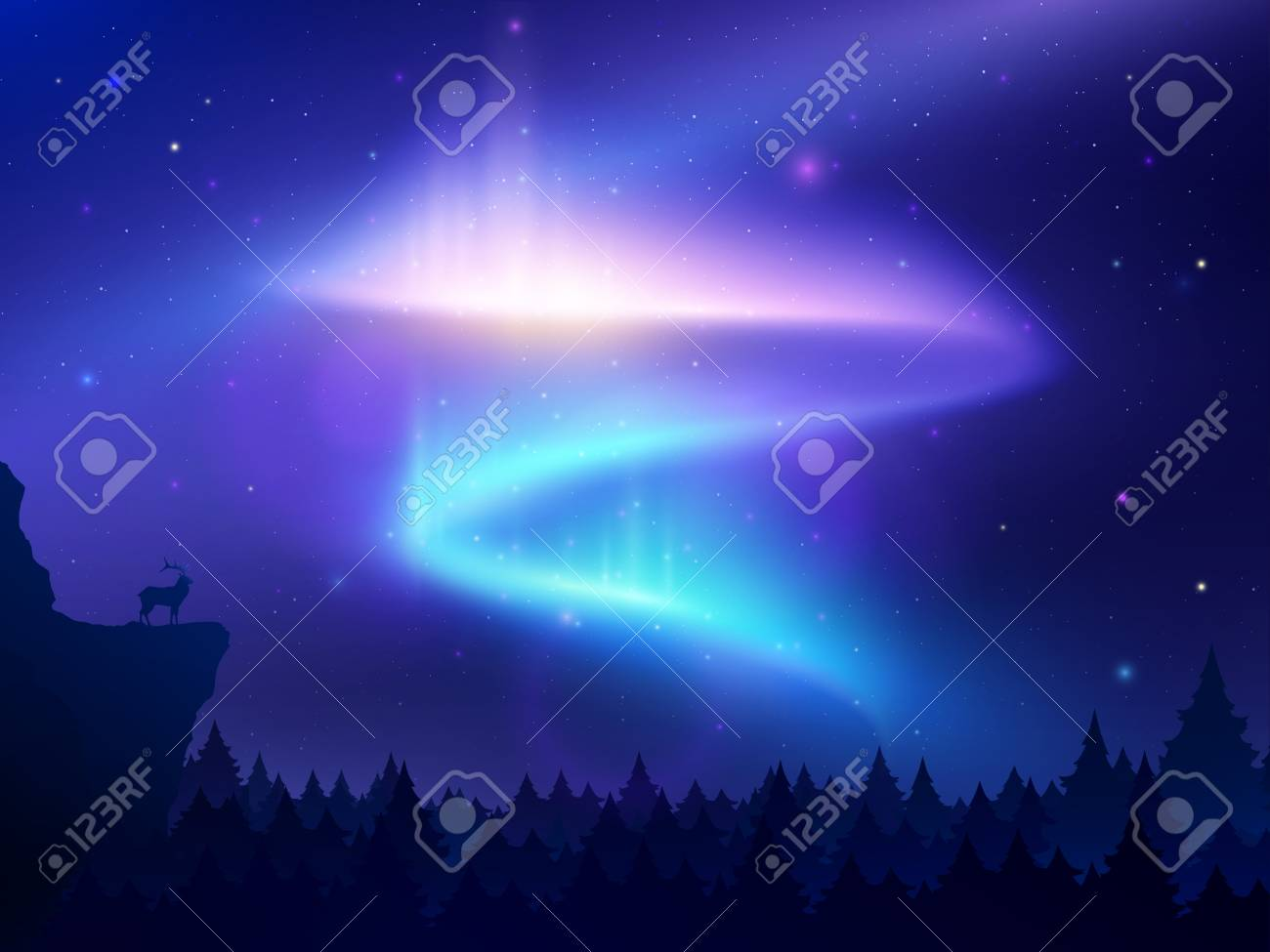 Realistic background with northern lights in night sky over forest and mountain vector illustration - 114227068