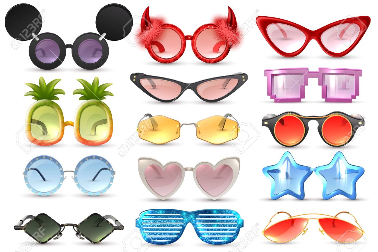 d0d4bfc5ba4 Carnival party masquerade costume glasses heart star cat eye shaped funny  sunglasses realistic set isolated vector