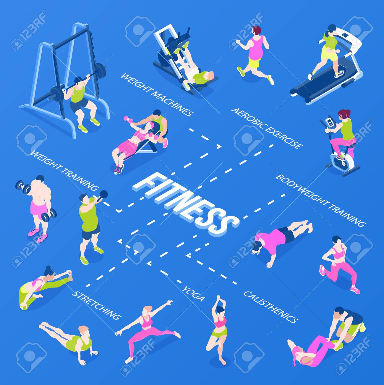 Fitness isometric infographics with stretching yoga weight and cardio trainings on blue background 3d vector illustration - 126629049