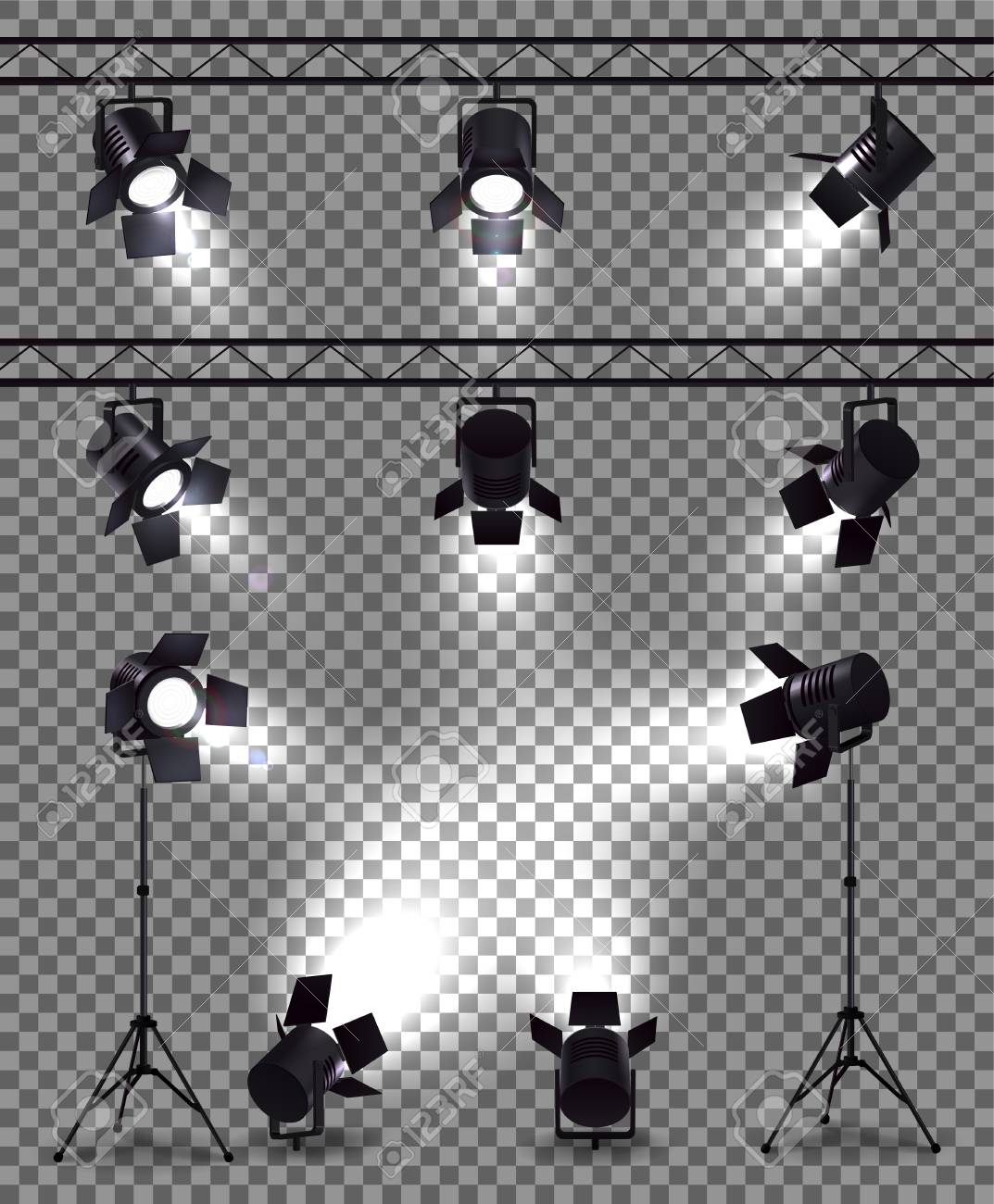Spotlights set with realistic images on transparent background with metal body spot lights and mounting equipment vector illustration - 126529877