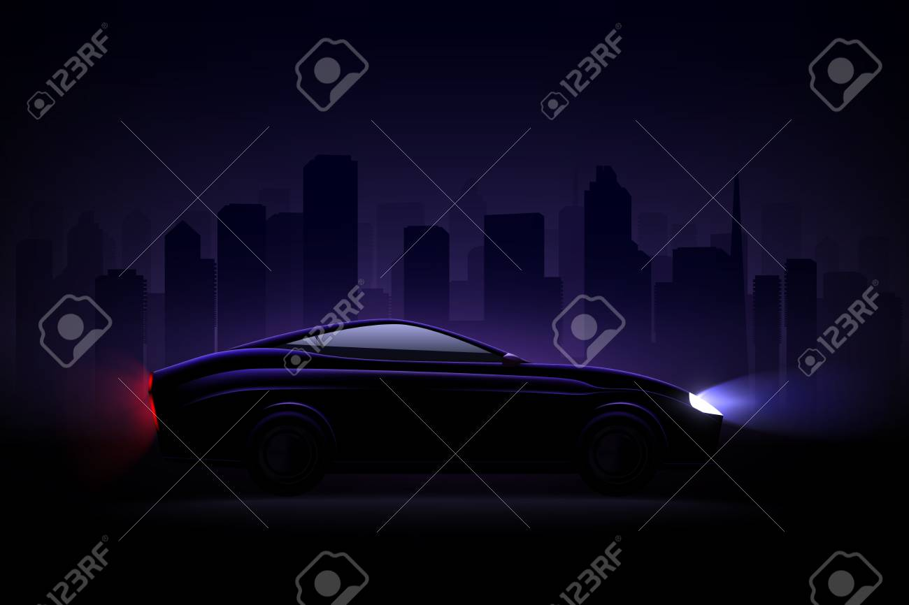 Lightened luxury sedan car against night city background with headlamps and rear tail lights lit vector illustration - 114519425